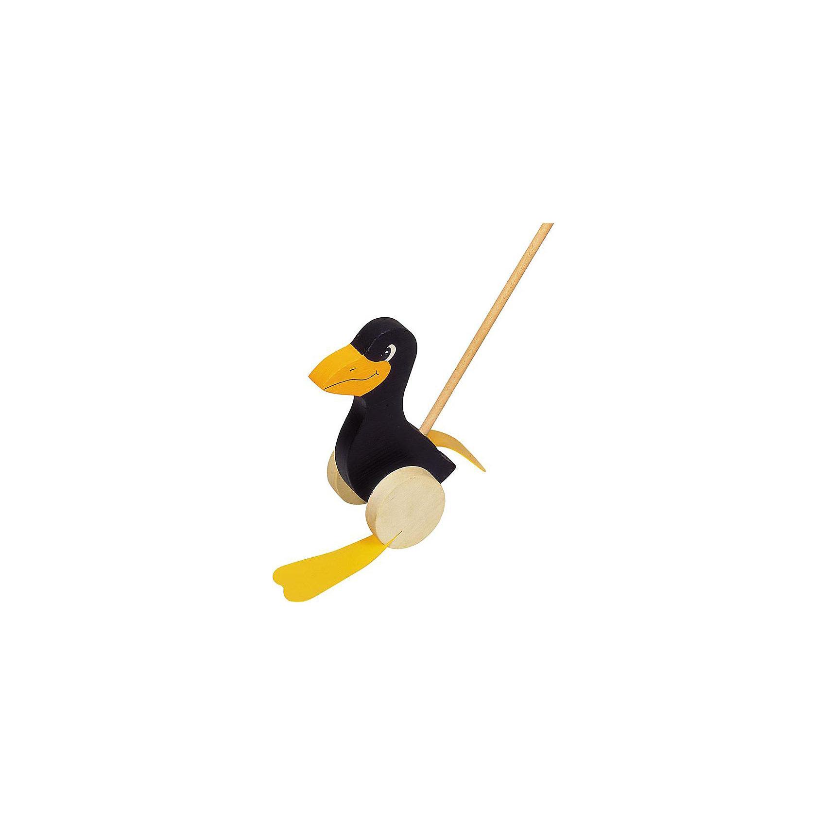 Каталка на палке Ворона, gokiКаталка на палке Ворона, goki<br><br>Характеристики:<br><br>• Материал: дерево, пластик<br>• Размер вороны: 19 см<br>• Высота с ручкой: 60 см<br>• Вес: 395 г<br><br>Сама ворона сделана из дерева, что делает ее экологически чистой. Игрушка качественно обработана и не оставит заноз на коже малыша. Ручка очень удобная. На конце есть шарик, за который малыш сможет легко ее держать. Пластиковые лапки при движении смешно шлепают, развлекая малыша.<br><br>Каталку на палке Ворона, goki можно купить в нашем интернет-магазине.<br><br>Ширина мм: 80<br>Глубина мм: 80<br>Высота мм: 190<br>Вес г: 409<br>Возраст от месяцев: 12<br>Возраст до месяцев: 48<br>Пол: Унисекс<br>Возраст: Детский<br>SKU: 2329053