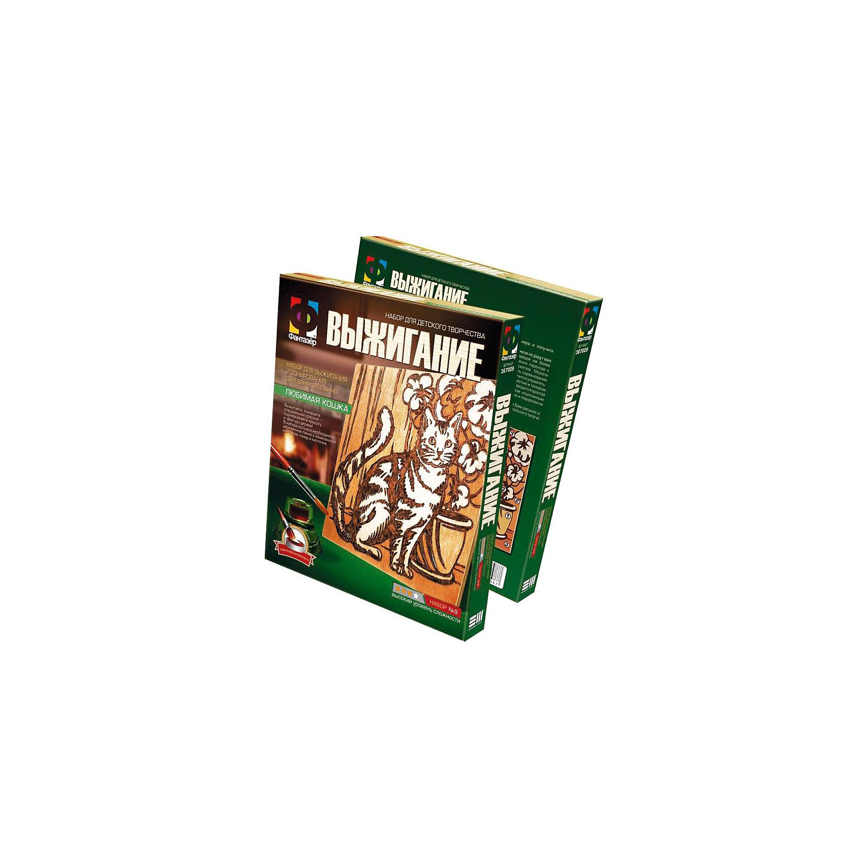 Фантазер Выжигание КошкаРукоделие<br>Выжигайте и тонируйте специальной краской, подчеркивающей красоту и фактуру дерева. В наборе есть все необходимое: 2 фанерки: одна с рисунком, вторая чистая,, размер 15х15см, тонер, кисточка<br>набор без выжигательного аппарата подходит для любого выжигательного аппарата.  Есть руководство по технике выжигания и тонирования панно. <br><br>В комплекте: 2 фанерные заготовки, пакетик с тонером, кисть, наждачная бумага, копирка, инструкция.<br><br>Дополнительная информация:<br><br>- размер фанеры-15х15 см.<br>- материал: шлифованная фанера, натуральный пигмент, пластмасса, наждачная бумага<br>- размер упаковки (картонная коробка) (д/ш/в): 18,5х22х2,5 см.<br>- вес: 106 гр.<br><br>Фантазер Выжигание Кошка можно купить в нашем магазине.<br><br>Ширина мм: 185<br>Глубина мм: 25<br>Высота мм: 220<br>Вес г: 120<br>Возраст от месяцев: 60<br>Возраст до месяцев: 1188<br>Пол: Мужской<br>Возраст: Детский<br>SKU: 2331323