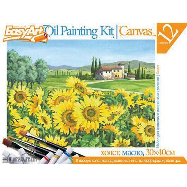 EasyArt Набор для живописи масляными красками № 3 ПодсолнухиНаборы для раскрашивания<br>EasyArt Набор для живописи масляными красками № 3 Подсолнухи, Фантазер<br><br>Характеристики:<br><br>• настоящая картина своими руками<br>• готовый эскиз<br>• яркий рисунок подсолнухов<br>• в комплекте: деревянный подрамник с холстом, масляные краски (12 цветов), 3 кисти, палитра из пластика<br>• размер холста: 30х40 см<br>• размер упаковки: 30,7х40,5х2,3 см<br>• вес: 740 грамм<br><br>С помощью набора Подсолнухи ваш ребенок сможет почувствовать себя настоящим художником, создающим восхитительные картины. Эскиз изображения подсолнухов уже нанесен на холст, и ребенку останется лишь раскрасить его так, как подскажет его воображение. Цвета красок можно смешать, чтобы получить новый, необходимый цвет. Для этого в набор входит удобная пластиковая палитра. Сами краски хорошо ложатся на холст и не выцветают. Прекрасная картина еще долго будет радовать юного художника или отлично подойдет в качестве подарка!<br><br>EasyArt Набор для живописи масляными красками № 3 Подсолнухи, Фантазер можно купить в нашем интернет-магазине.<br><br>Ширина мм: 400<br>Глубина мм: 20<br>Высота мм: 300<br>Вес г: 780<br>Возраст от месяцев: 96<br>Возраст до месяцев: 1188<br>Пол: Женский<br>Возраст: Детский<br>SKU: 2331378