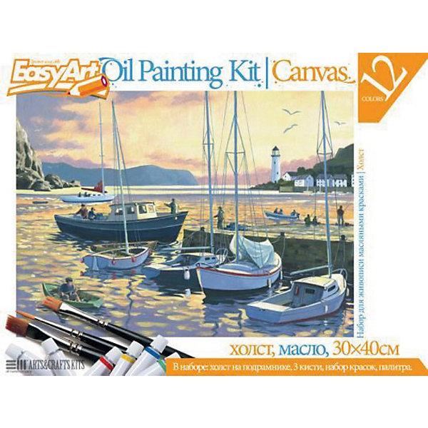 EasyArt Набор для живописи масляными красками № 5 Вечерняя гаваньНаборы для раскрашивания<br>Набор EasyArt Вечерняя гавань предназначен для тех, кто давно мечтал нарисовать настоящую картину. <br><br>В этот набор входят масляные краски, работа с которыми отличается от привычной гуаши или акварели. Благодаря тому, что масло долго сохнет, с ним можно долго работать, чтобы достигнуть желаемого результата. Вы можете смешивать краску прямо на холсте или вовремя исправить неудачный фрагмент. На холст нанесён черно-белый вариант картины, который Вы должны раскрасить. В конце у Вас получится картина, которая изображена на упаковке. Эта картина может стать необычным декором или запоминающимся подарком.<br><br>Дополнительная информация:<br><br>Размер холста: 30 х 30 см.<br>В наборе: отгрунтованный холст на подрамнике,3 кисточки, деревянная палитра, 12 масляных красок.<br><br>Ширина мм: 400<br>Глубина мм: 20<br>Высота мм: 300<br>Вес г: 780<br>Возраст от месяцев: 96<br>Возраст до месяцев: 1188<br>Пол: Унисекс<br>Возраст: Детский<br>SKU: 2331380