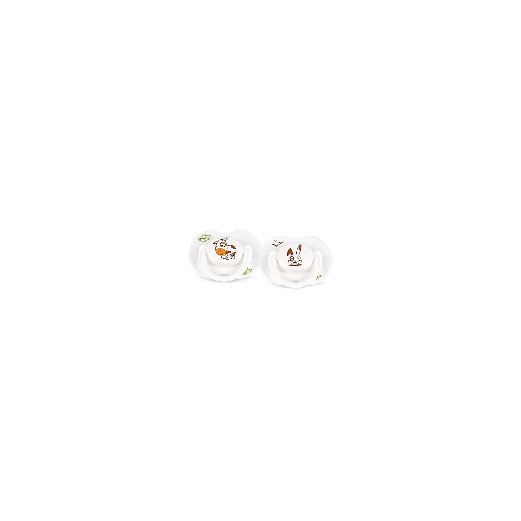 Силиконовая пустышка Домашние животные, 0-6 мес., 2 шт., AVENT, зайчик/коровкаОртодонтические симитричные мягкие соски от AVENT Philips серии Домашние животные, 0-6 мес  (уп.2шт) c различными изображениями животных наверняка порадуют вашего малыша.<br><br>Дополнительная информация: <br>- Удобные силиконовые соски , без запаха и вкуса<br>- Безопасность: предохранительное кольцо-держатель  позволяет с легкостью вынуть пустышку в любой момент<br>- Гигиеничность: защелкивающийся защитный колпачок для сохранения чистоты стерилизованных сосок <br>- Можно стерилизовать<br>- Можно мыть в посудомоечной машине<br>- Рекомендуемый возраст: 0-6 мес<br>- Рисунок: коровка/зайка<br> <br>В комплект входит: <br>- Силиконовая соска: 2 шт. <br>- Защелкивающийся защитный колпачок: 2 шт. <br><br>Силиконовую пустышку Домашние животные, 0-6 мес., 2 шт., AVENT можно купить в нашем интернет-магазине.<br><br>Ширина мм: 50<br>Глубина мм: 100<br>Высота мм: 100<br>Вес г: 63<br>Возраст от месяцев: 0<br>Возраст до месяцев: 36<br>Пол: Унисекс<br>Возраст: Детский<br>SKU: 2335053