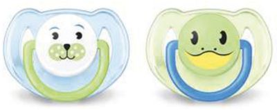 PHILIPS AVENT Силиконовая пустышка Домашние животные, 6-18 мес., 2 шт., AVENT, голубой/зеленый