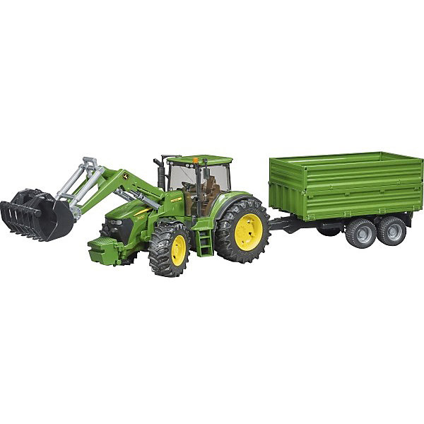Трактор John Deere с погрузчиком и прицепом, BruderМашинки<br>Трактор John Deere с погрузчиком и прицепом, Bruder (Брудер) - это качественная детализированная игрушка с подвижными элементами.<br>Трактор John Deere с погрузчиком и прицепом от немецкого производителя игрушек Bruder (Брудер) - это уменьшенная полноценная копия настоящей машины! Модель отличается высокой степенью детализации. Кабина трактора с открывающимися дверьми и люком, прозрачным пластиком на окнах, водительским сидением, рулем и декоративными рычагами тщательно проработана. Даже протекторы шин на колесах трактора имитируют оригинал. Капот трактора поднимается, открывая доступ к двигателю. Передняя ось оснащена амортизатором, что позволит трактору сохранять устойчивость на любых труднопроходимых участках дороги, легко преодолевая препятствия на своём пути. Широкие большие колёса трактора с крупным протектором обеспечивают хорошую проходимость. Колеса прорезиненные. Они не гремят при езде и не царапают пол. Управление передними колесами осуществляется с помощью руля в кабине или дополнительного руля, который вставляется через отодвигающее отверстие на крыше трактора. Ковш можно поднимать, опускать, менять угол наклона. Откидной прицеп с регулируемыми бортами легко и быстро прикрепляется к трактору специальным устройством. Устойчивое положение прицепа обеспечивает опора, позволяющая фиксировать его в стоящем положении. Есть фаркоп для прицепных устройств. Игрушка изготовлена из высококачественного пластика, устойчивого к износу и ударам. Продукция сертифицирована, экологически безопасна для ребенка, использованные красители не токсичны и гипоаллергенны.<br><br>Дополнительная информация:<br><br>- Комплектация: трактор, прицеп, погрузчик<br>- Масштаб 1:16<br>- Размер трактора с погрузчиком и прицепом: 80,5 х 17,5 х 20 см.<br>- Материал: высококачественный ударопрочный пластик АБС<br>- Цвет: зеленый, черный, желтый<br><br>Трактор John Deere с погрузчиком и прицепом, Bruder (Брудер) можно купить в нашем