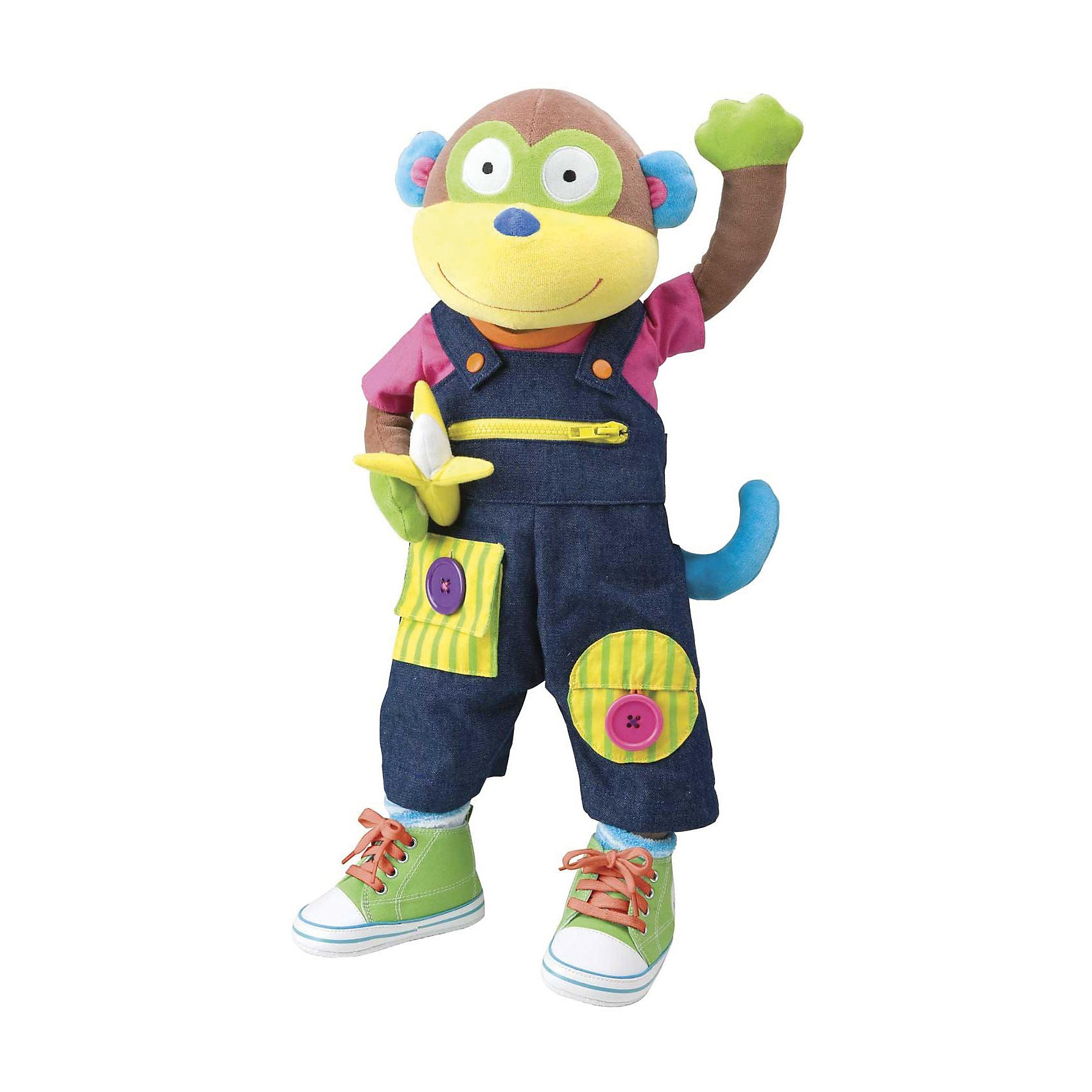 Мягкая развивающая игрушка Учимся одеваться с обезьянкой, AlexРазвивающие игрушки<br>Характеристики товара:<br><br>• возраст от 18 месяцев<br>• материал: текстиль, наполнитель, пластик<br>• высота игрушки 56 см<br>• размер упаковки 58х24х15,2 см<br>• вес упаковки 1,362 кг<br>• страна бренда: США<br>• страна производитель: США<br><br>Мягкая развивающая игрушка «Учимся одеваться с обезьянкой» Alex — мягкая игрушка, которая научит малыша одеваться, застегивать пуговички, молнии, завязывать шнурки. Обезьянка одета в костюмчик с пряжками, пуговицами, молниями, с которыми малыш будет учится управляться. На ножках кеды на шнурках, которые надо учиться завязывать. Игрушка не только научит малыша справляться с застежками, но и способствует развитию мелкой моторики рук и логического мышления.<br><br>Мягкую развивающую игрушку «Учимся одеваться с обезьянкой» Alex можно приобрести в нашем интернет-магазине.<br><br>Ширина мм: 241<br>Глубина мм: 152<br>Высота мм: 584<br>Вес г: 454<br>Возраст от месяцев: 18<br>Возраст до месяцев: 36<br>Пол: Мужской<br>Возраст: Детский<br>SKU: 2353453
