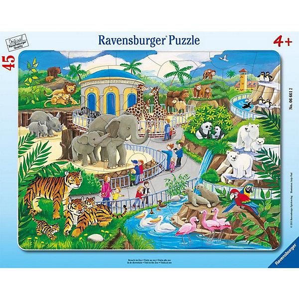 Пазл «Прогулка по зоопарку», 45 деталей, RavensburgerПазлы для малышей<br>Яркая картинка, состоящая из 45 элементов, напечатана на картоне высочайшего качества. Собирать такую головоломку приятно и достаточно легко, ведь изображенные на рисунке животные крупные и хорошо узнаваемы. Здесь есть зебры, жирафы, фламинго, львы и много других зверушек, которые так нравятся детям. Пазл положительно влияет на развитие памяти, сообразительности и моторики рук. Подарив ребёнку пазл Прогулка по зоопарку, вы подарите ему много положительных эмоций.<br>В товар входит:<br>-45 деталей <br><br>Дополнительная информация<br>- Размер картинки :  25*14,5 см <br>-Размер упаковки : 30*19*5 см<br>-Возраст: от 3 лет<br>-Для мальчиков и девочек<br>-Состав: картон<br>-Бренд: Ravensburger (Равенсбургер)<br>-Страна обладатель бренда: Германия<br>Ширина мм: 374; Глубина мм: 292; Высота мм: 5; Вес г: 306; Возраст от месяцев: 48; Возраст до месяцев: 72; Пол: Унисекс; Возраст: Детский; Количество деталей: 45; SKU: 2354211;