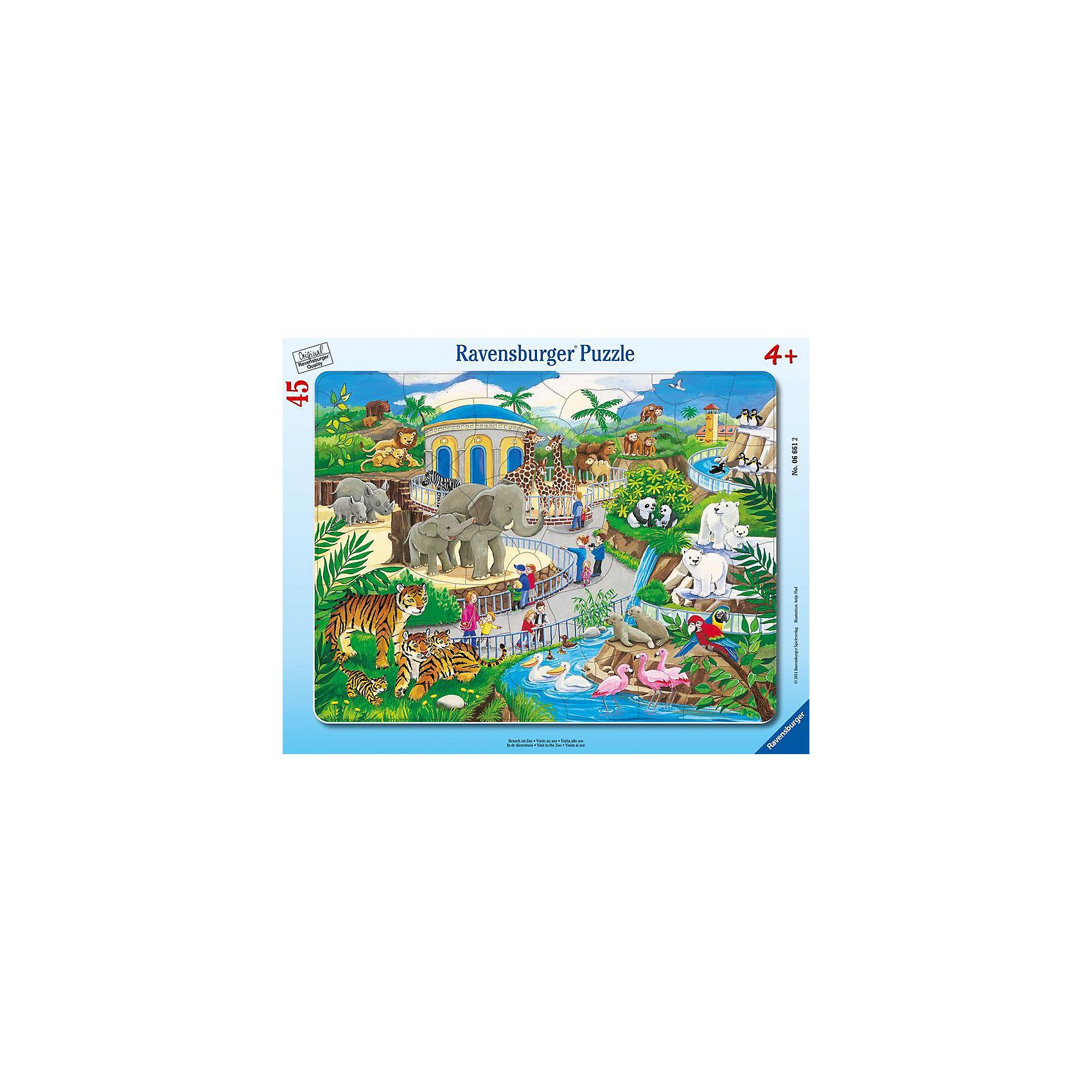Пазл «Прогулка по зоопарку», 45 деталей, RavensburgerЯркая картинка, состоящая из 45 элементов, напечатана на картоне высочайшего качества. Собирать такую головоломку приятно и достаточно легко, ведь изображенные на рисунке животные крупные и хорошо узнаваемы. Здесь есть зебры, жирафы, фламинго, львы и много других зверушек, которые так нравятся детям. Пазл положительно влияет на развитие памяти, сообразительности и моторики рук. Подарив ребёнку пазл Прогулка по зоопарку, вы подарите ему много положительных эмоций.<br>В товар входит:<br>-45 деталей <br><br>Дополнительная информация<br>- Размер картинки :  25*14,5 см <br>-Размер упаковки : 30*19*5 см<br>-Возраст: от 3 лет<br>-Для мальчиков и девочек<br>-Состав: картон<br>-Бренд: Ravensburger (Равенсбургер)<br>-Страна обладатель бренда: Германия<br><br>Ширина мм: 376<br>Глубина мм: 292<br>Высота мм: 7<br>Вес г: 306<br>Возраст от месяцев: 48<br>Возраст до месяцев: 72<br>Пол: Унисекс<br>Возраст: Детский<br>Количество деталей: 45<br>SKU: 2354211