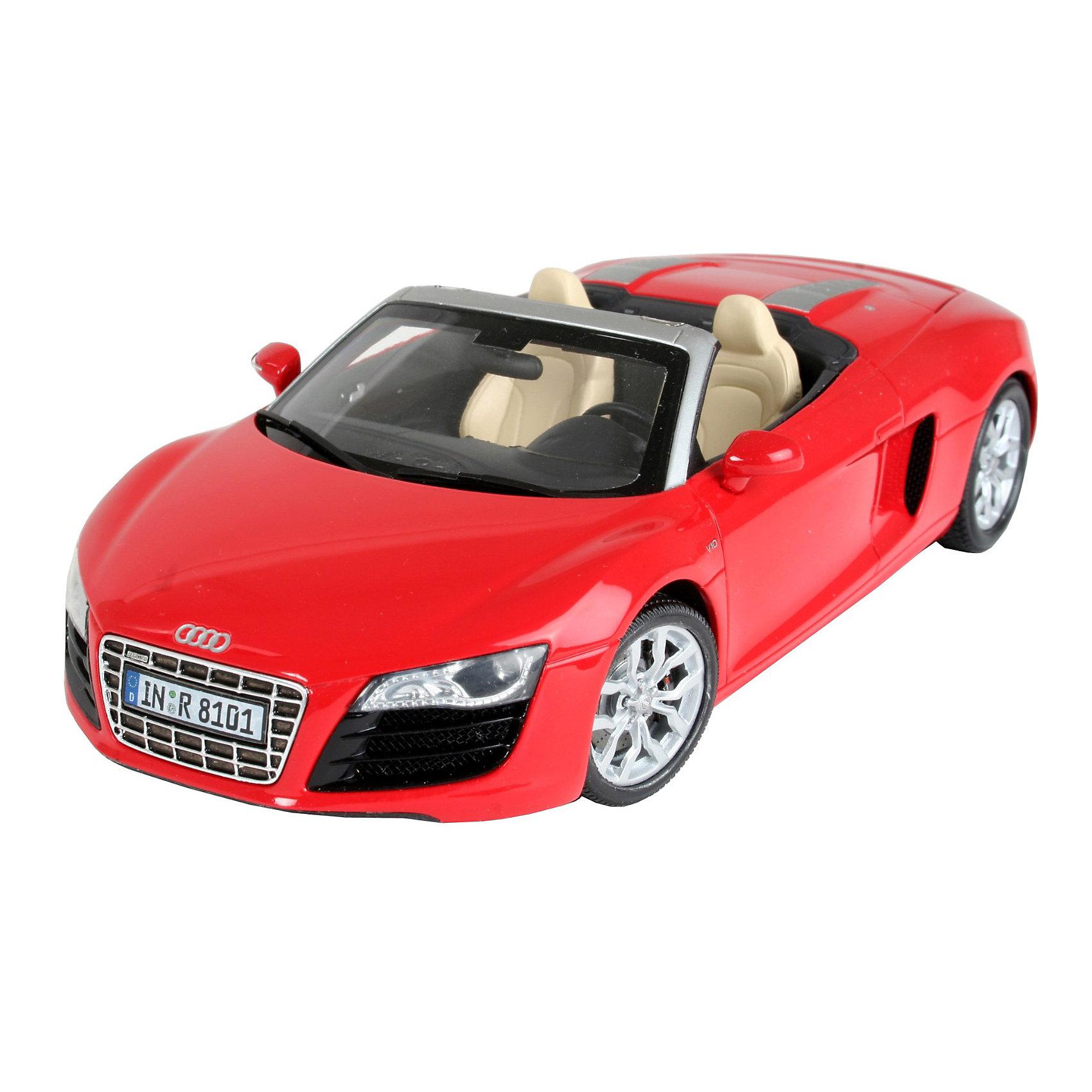 Автомобиль Audi R8 Spyder, RevellАвтомобиль Audi R8 Spyder, Revell (Ревелл) – максимально детализированная модель станет украшением комнаты и дополнением коллекции.<br>Родстер на базе Audi R8 впервые был представлен в 2009 году на Франкфуртском автосалоне. На родстере была убрана уже ставшая «визитной карточкой» R8 панель на боку автомобиля, отличающаяся по цвету от остального кузова машины. Меньше, чем за 5 секунд авто разгоняется до 100 км/ч. Мощность двигателя - 386 kW, а максимальная скорость, на которую способна эта машина - 313 км/ч. Автомобиль поражает не только внешним видом и качественными характеристиками, но и уровнем популярности. Какой мальчик и мужчина не мечтал бы хоть разок посидеть за рулем этого мощного агрегата? Теперь у вас есть возможность собрать своими руками точную копию автомобиля-мечты в уменьшенном варианте. Модель состоит из 126 деталей, которые необходимо собрать, склеить и покрыть краской в соответствии с инструкцией. В наборе также прилагаются клей в удобной упаковке, краски и кисточка. Модель тщательно проработана. Оригинальный кузов выполнен в мельчайших подробностях, а интерьер машины превосходно детализирован. Некоторые части модели хромированы. Разработанная для детей от 10 лет, сборная модель знаменитого автомобиля Audi R8 Spyder, определённо, принесёт массу положительных эмоций и взрослым любителям моделирования. Моделирование считается одним из наиболее полезных хобби, ведь оно развивает интеллектуальные и инструментальные способности, воображение и конструктивное мышление. Прививает практические навыки работы со схемами и чертежами.<br><br>Дополнительная информация:<br><br>- Возраст: для детей старше 10-и лет<br>- В наборе: комплект пластиковых деталей для сборки модели, декаль (наклейки), базовые акриловые краски, клей, кисточка, инструкция<br>- Количество деталей: 126 шт.<br>- Масштаб: 1:24<br>- Длина модели: 185 мм.<br>- Уровень сложности: 3 (из 5)<br>- Дополнительно потребуются: кусачки, для того чтобы отделить детали с ли