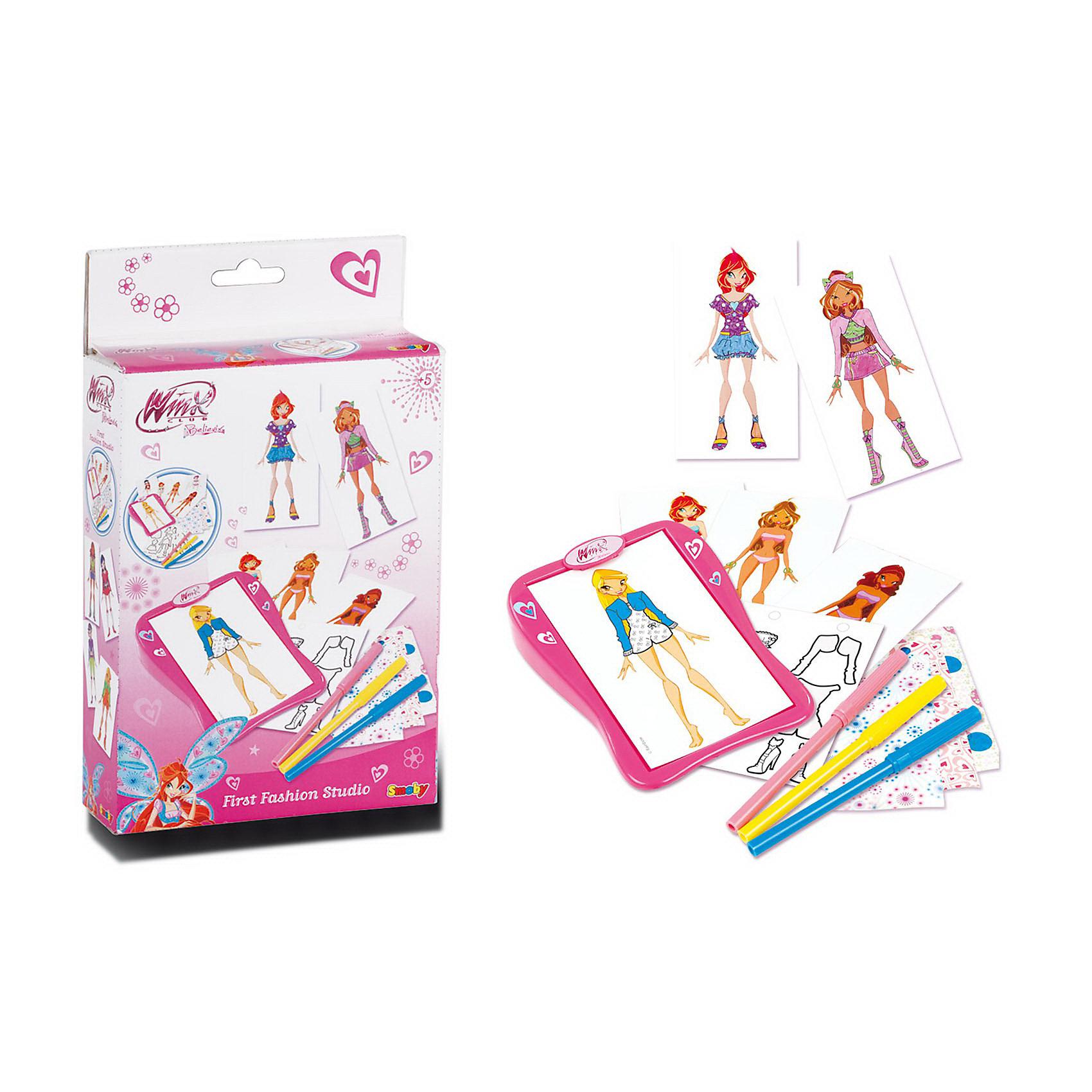 Smoby Первая студия модыДля того чтобы стать модельером, надо много практиковаться. Студия моды №1 Winx (Винкс) - это чудесная возможность для девочек почувствовать себя модельером! Девочки смогут придумывать дизайнерскую одежду собственной марки для своих кукол. В комплекте есть 6 персонажей Winx и множество различных аксессуаров для работы модельера. Студия моды №1 Winx отлично развивает детское воображение. <br><br>Дополнительная информация: <br><br>- размер упаковки: 17,5 х 3 х 12,5 см<br>- ширина упаковки: 22 см<br>- длина упаковки: 13 см<br>- высота упаковки:   4 см<br>- вес:  0,203 кг<br><br>Студию моды №1 Winx (Винкс)  от  Smoby можно купить в нашем интернет-магазине.<br><br>Ширина мм: 175<br>Глубина мм: 30<br>Высота мм: 125<br>Вес г: 200<br>Возраст от месяцев: 48<br>Возраст до месяцев: 1188<br>Пол: Женский<br>Возраст: Детский<br>SKU: 2357564