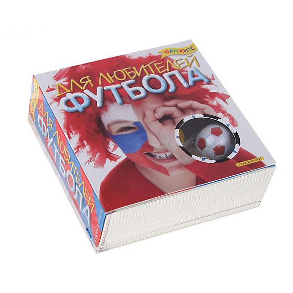 Набор Для любителей футболаДругие наборы<br>Fun kits «Для любителей футбола» - незаменимый набор настоящего футбольного болельщика или болельщицы. Главное – быть ярким и громким, и тогда твоя команда точно победит! Все необходимое для себя ты найдешь в этом наборе (краски для лица, свисток, судейские карточки и оригинальный брелок), а книга с цветными иллюстрациями подскажет тебе, как стать правильным и лучшим болельщиком!                          Дополнительная информация:<br>В набор входит:<br>- Книга (48 страниц) с инструкциями и цветными иллюстрациями; <br>- Краски для лица 6 цветов, <br>- Кисточка, <br>- Судейский свисток, <br>- Брелок футбольный мяч, <br>- Красная и желтая судейские карточки<br>Размер упаковки (д/ш/в): 170 х 62 х 170 мм<br>Собираясь на футбол, не забудь свой набор настоящего болельщика!<br><br>Ширина мм: 170<br>Глубина мм: 62<br>Высота мм: 170<br>Вес г: 500<br>Возраст от месяцев: 72<br>Возраст до месяцев: 144<br>Пол: Мужской<br>Возраст: Детский<br>SKU: 2358161