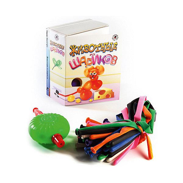Набор Животные из шариковФокусы и розыгрыши<br>Мини-маэстро Животные из шариков.<br><br>Хочешь сделать из шарика собаку? А лебедя или жирафа? Это совсем не сложно, если у тебя есть эта коробочка! В ней находится книга с цветными иллюстрациями и указаниями, как сделать из шариков десять различных животных, а также разноцветные шарики и маленький насос.<br><br>Дополнительная информация:<br><br>В набор входит:<br>- Книга с инструкциями 48 стр., цв. илл.,<br>- 20 шариков для моделирования,<br>- насос.<br>Размер упаковки (д/ш/в): 95 х 52 х 120 мм<br><br>Важный совет: кот - самая трудная модель. Когда будешь его делать, позови на помощь папу!<br>Ширина мм: 95; Глубина мм: 52; Высота мм: 120; Вес г: 300; Возраст от месяцев: 72; Возраст до месяцев: 144; Пол: Унисекс; Возраст: Детский; SKU: 2358200;
