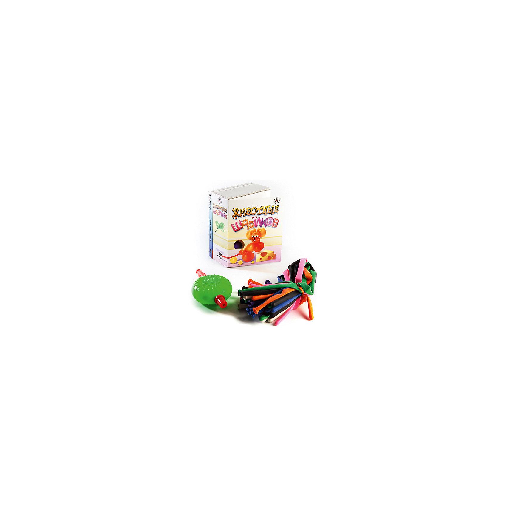 Набор Животные из шариковНаборы для фокусов<br>Мини-маэстро Животные из шариков.<br><br>Хочешь сделать из шарика собаку? А лебедя или жирафа? Это совсем не сложно, если у тебя есть эта коробочка! В ней находится книга с цветными иллюстрациями и указаниями, как сделать из шариков десять различных животных, а также разноцветные шарики и маленький насос.<br><br>Дополнительная информация:<br><br>В набор входит:<br>- Книга с инструкциями 48 стр., цв. илл.,<br>- 20 шариков для моделирования,<br>- насос.<br>Размер упаковки (д/ш/в): 95 х 52 х 120 мм<br><br>Важный совет: кот - самая трудная модель. Когда будешь его делать, позови на помощь папу!<br><br>Ширина мм: 95<br>Глубина мм: 52<br>Высота мм: 120<br>Вес г: 300<br>Возраст от месяцев: 72<br>Возраст до месяцев: 144<br>Пол: Унисекс<br>Возраст: Детский<br>SKU: 2358200