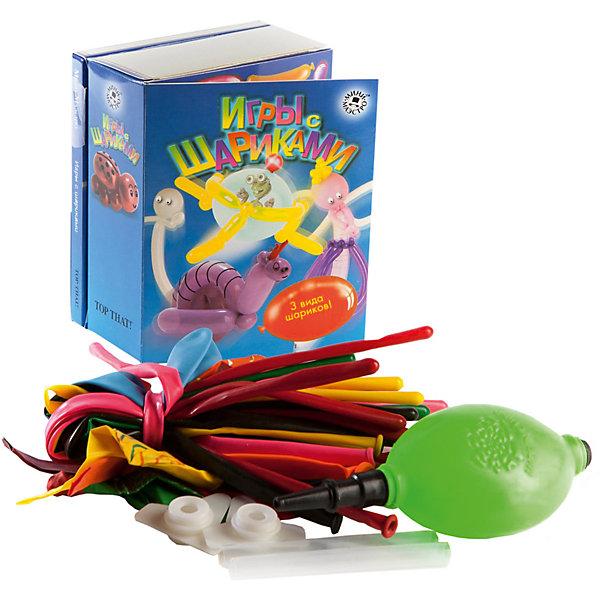Набор Игры с шарикамиВоздушные шары<br>Мини-маэстро «Игры с шариками» - в этом наборе есть все, чтобы сделать самые необычные поделки из шариков. Твои модели будут летать, пищать и, конечно, всех напугают. Из 48-страничной книги ты узнаешь, как сделать из шариков ракету, летающую тарелку или приведение, а также получишь много вредных советов, как развлечься на вечеринке.<br>Дополнительная информация:<br>В набор входит:<br>- Книга с инструкциями 48 стр., цв. илл.,<br>- 15 разноцветных шариков для моделирования, <br>- 8 необычных шаров, <br>- мини-насос.<br>Размер упаковки (д/ш/в): 95 х 52 х 120 мм<br>С этим набором можно хорошо повеселиться!<br>Ширина мм: 95; Глубина мм: 52; Высота мм: 120; Вес г: 300; Возраст от месяцев: 72; Возраст до месяцев: 144; Пол: Унисекс; Возраст: Детский; SKU: 2358204;