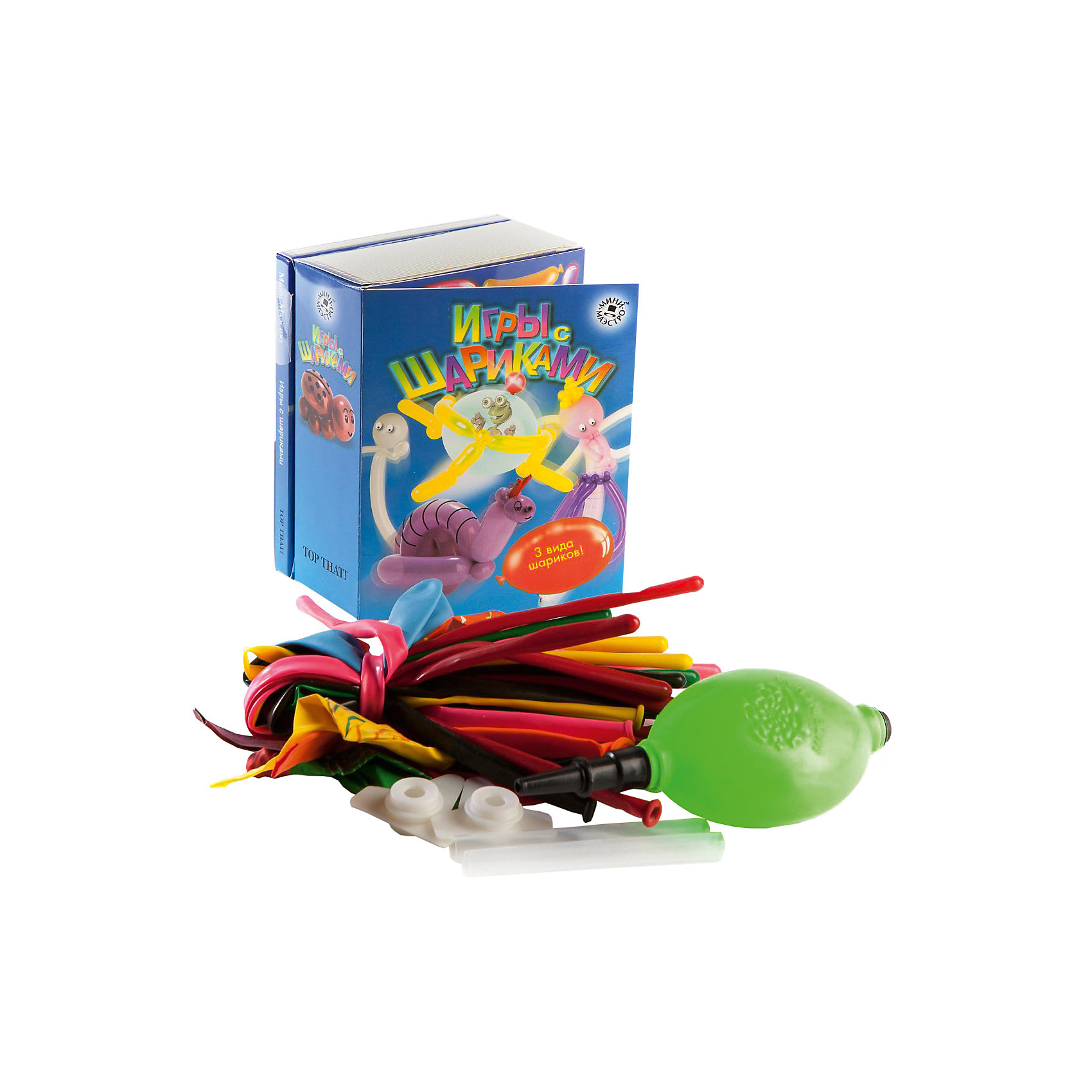 Набор Игры с шарикамиНаборы для фокусов<br>Мини-маэстро «Игры с шариками» - в этом наборе есть все, чтобы сделать самые необычные поделки из шариков. Твои модели будут летать, пищать и, конечно, всех напугают. Из 48-страничной книги ты узнаешь, как сделать из шариков ракету, летающую тарелку или приведение, а также получишь много вредных советов, как развлечься на вечеринке.<br>Дополнительная информация:<br>В набор входит:<br>- Книга с инструкциями 48 стр., цв. илл.,<br>- 15 разноцветных шариков для моделирования, <br>- 8 необычных шаров, <br>- мини-насос.<br>Размер упаковки (д/ш/в): 95 х 52 х 120 мм<br>С этим набором можно хорошо повеселиться!<br><br>Ширина мм: 95<br>Глубина мм: 52<br>Высота мм: 120<br>Вес г: 300<br>Возраст от месяцев: 72<br>Возраст до месяцев: 144<br>Пол: Унисекс<br>Возраст: Детский<br>SKU: 2358204