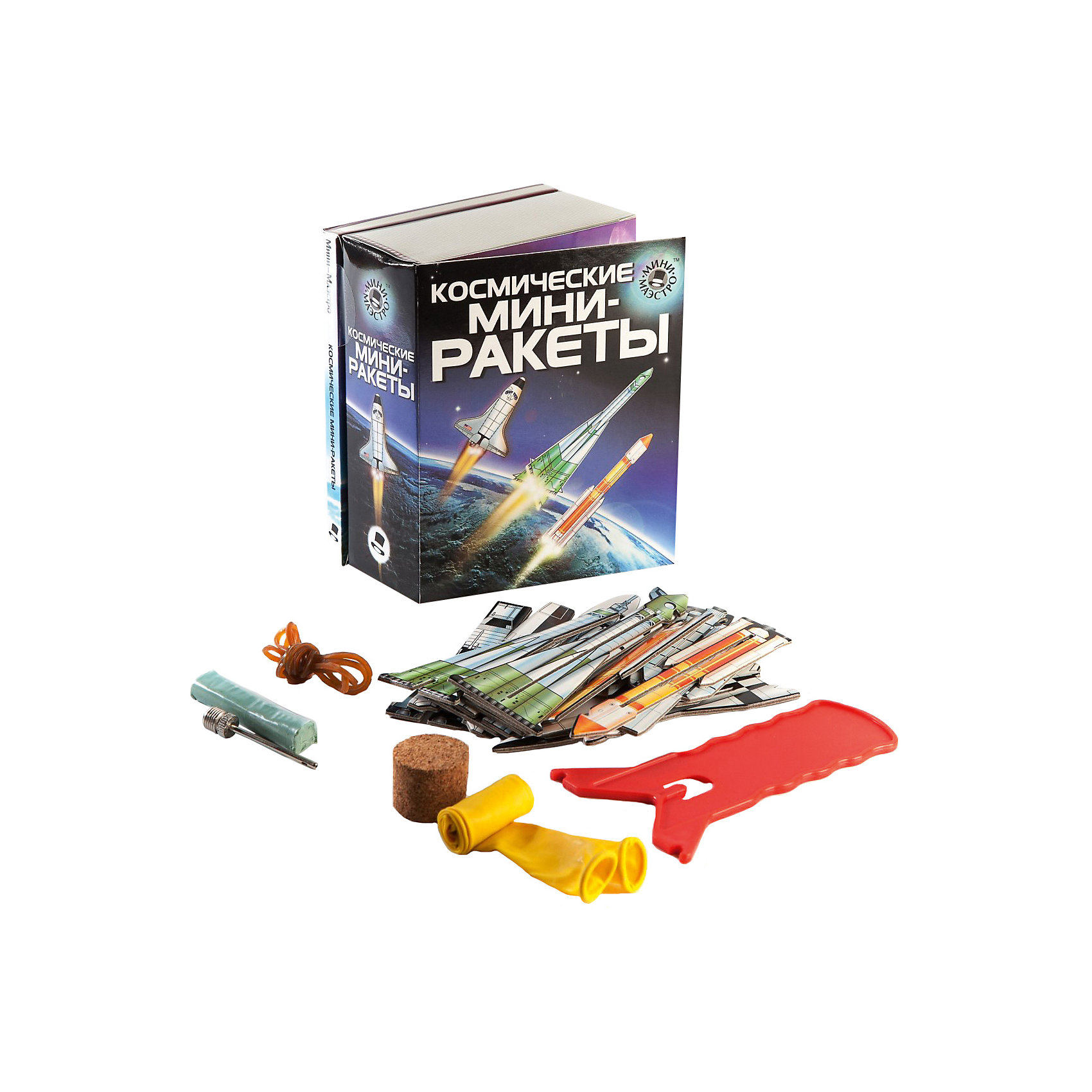 Набор Космические мини-ракетыСборные модели транспорта<br>Мини-маэстро «Космические мини-ракеты»<br>В наборе есть 48-страничная книга о космических ракетах и 8 ракет для запуска. Ты узнаешь о принципе реактивного движения и сможешь сконструировать собственные ракеты, работающие на сжатом воздухе.<br>Дополнительная информация:<br>В набор входит:<br>- Книга с инструкциями 48 стр., цв. илл.,<br>- 8 мини-ракет, <br>- устройство для запуска, <br>- 4 резинки, <br>- 2 шарика, пробка, замазка, игольчатый клапан.<br>Размер упаковки (д/ш/в): 95 х 52 х 120 мм<br>С этим набором ты станешь экспертом по ракетам!<br><br>Ширина мм: 95<br>Глубина мм: 52<br>Высота мм: 120<br>Вес г: 300<br>Возраст от месяцев: 72<br>Возраст до месяцев: 144<br>Пол: Мужской<br>Возраст: Детский<br>SKU: 2358207