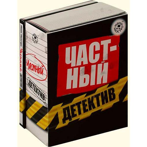 Набор Частный детективКриминалистика<br>Мини-маэстро «Частный детектив»<br>Ты раскроешь любое преступление после того, как научишься пользоваться этим набором! Ты узнаешь, как составлять фоторобот, расшифровывать отпечатки пальцев, собирать улики, а также многое другое. <br>Дополнительная информация:<br>В набор входит:<br>- Книга с инструкциями 48 стр., цв. илл.,<br>- графитовая пудра, <br>- кисточка, <br>- подушка для отпечатков пальцев, <br>- лупа, <br>- лента оцепления.<br>Размер упаковки (д/ш/в): 95 х 52 х 120 мм<br>Стань Шерлоком Холмсом!<br><br>Ширина мм: 95<br>Глубина мм: 52<br>Высота мм: 120<br>Вес г: 300<br>Возраст от месяцев: 72<br>Возраст до месяцев: 144<br>Пол: Мужской<br>Возраст: Детский<br>SKU: 2358224
