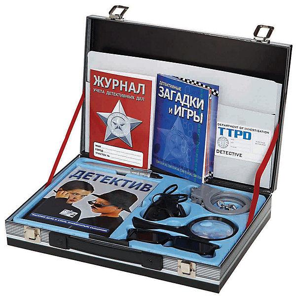 Чемодан детективаИдеи подарков<br>Незаменимый чемоданчик для детектива от Fantastic.<br><br>В этом чемоданчике находится всё, что поможет детективу раскрыть самые загадачные преступления: наручники, подслушивающее устройство, ручка-фонарик, лупа, учебник юного детектива, служебное удостоверение и даже журнал расследований.<br><br><br>В набор входит:<br>- 2 книги 16 и 64 стр. с цветными иллюстрациями и заданиями <br>- Журнал учета детективных дел <br>- Удостоверение детектива <br>- Лупа <br>- Ручка-фонарик <br>- Подслушивающее устройство <br>- Очки для заднего наблюдения <br>- Наручники <br><br>Размер упаковки (д/ш/в): 310 х 62 х 220 мм<br><br>Ширина мм: 310<br>Глубина мм: 62<br>Высота мм: 220<br>Вес г: 700<br>Возраст от месяцев: 72<br>Возраст до месяцев: 144<br>Пол: Мужской<br>Возраст: Детский<br>SKU: 2358229