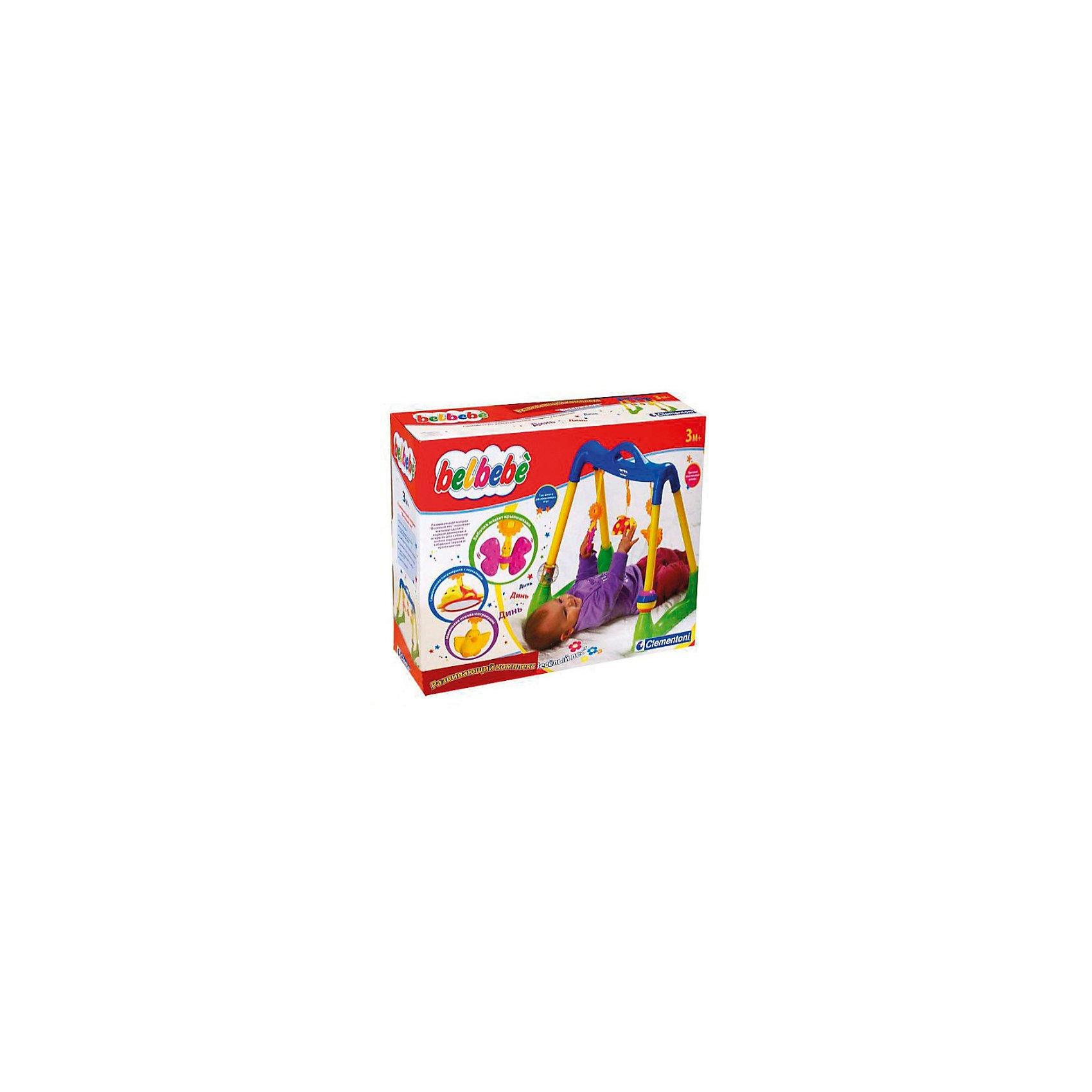 Развивающий комплекс Веселый лес, Baby ClementoniРазвивающий комплекс Веселый Лес от Baby Clementoni - это яркие красочные игрушки, которые привлекут внимание Вашего малыша и будут способствовать его физическому и интеллектуальному развитию. Комплекс представляет из себя турничок, на который можно повесить съемные , входящие в комплект игрушки: бабочку с вращающимися крылышками, божью коровку с зеркальцем и цыпленка-погремушку. Высота подвесок регулируется. На ножках турника закреплены еще две игрушки в виде крутящихся шаров, один из которых состоит из разноцветных сегментов.<br><br>Ребенок может играть как лежа на полу, так и в кроватке. Со съёмными деталями можно играть отдельно. Развивающий комплекс легко собирается и складывается, не занимает много места. Игрушка способствует интеллектуальному развитию, зрительному восприятию, тренирует координацию и мелкую моторику.  <br><br>Дополнительная информация:<br><br>- В комплекте: развивающий комплекс, 3 съемные фигурки, 2 шара.<br>- Материал: пластик.<br>- Размер комплекса: 60 х 45 х 18 см. <br>- Размер упаковки: 20 х 19 х 19 см. <br>- Вес: 1,1 кг. <br><br>Развивающий комплекс Веселый Лес, Baby Clementoni можно купить в нашем интернет-магазине.<br><br>Ширина мм: 450<br>Глубина мм: 500<br>Высота мм: 180<br>Вес г: 780<br>Возраст от месяцев: 3<br>Возраст до месяцев: 24<br>Пол: Унисекс<br>Возраст: Детский<br>SKU: 2361846