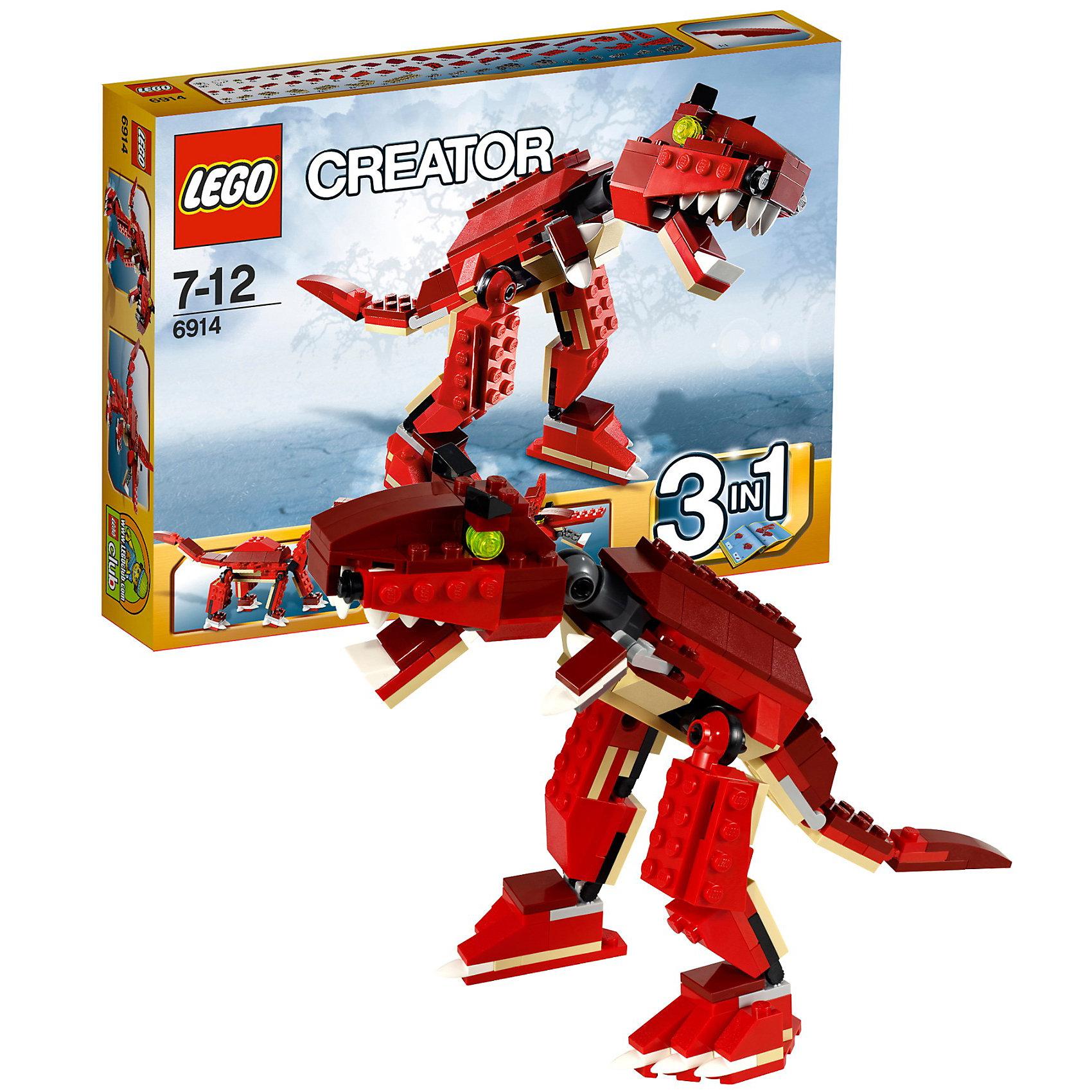 LEGO Creator 6914: Динозавр хищникМчись изо всех сил, страшный Тиранозавр рекс вырвался на волю! Этот динозавр с открывающейся пастью с множеством зубов, мощными движущимися лапами и длинным хвостом не в настроении играть! Или перестрой его в летающего птеродактиля с двигающимися крыльями или двигающегося брахиозавра.<br><br>Ширина мм: 263<br>Глубина мм: 192<br>Высота мм: 48<br>Вес г: 293<br>Возраст от месяцев: 84<br>Возраст до месяцев: 144<br>Пол: Мужской<br>Возраст: Детский<br>SKU: 2362073