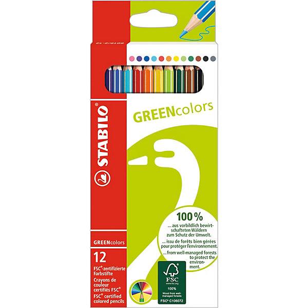 Купить STABILO GREEN colors Набор цветных карандашей, 12 шт., Германия, Унисекс