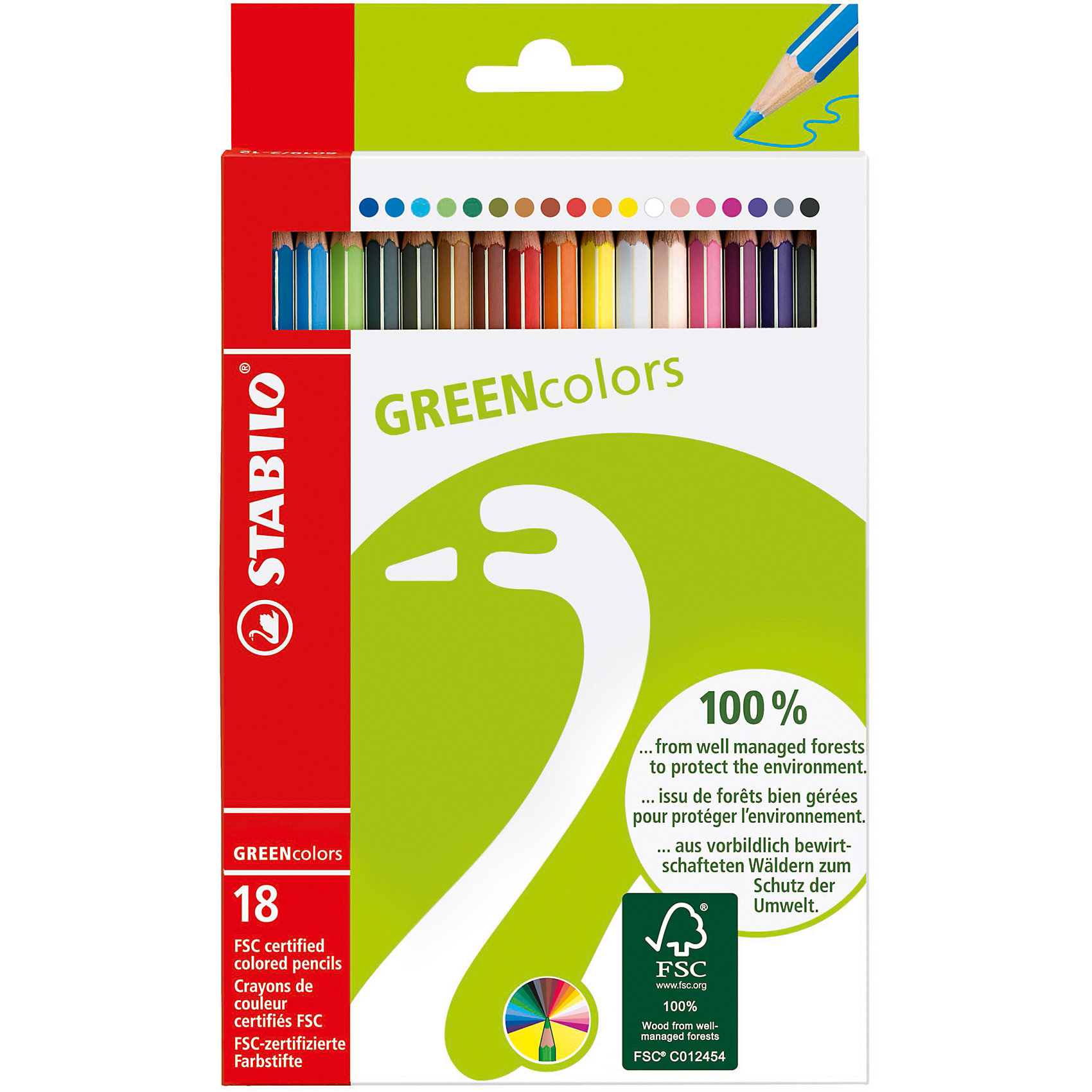 Набор цветных карандашей, 18 цв., GREEN COLOURSНабор цветных карандашей, 18 цв., GREEN COLOURS от марки Stabilo<br><br>Эти карандаши созданы немецкой компанией для комфортного и легкого рисования. Легко затачиваются, при этом грифель очень устойчив к поломкам. Цвета яркие, линия мягкая и однородная. Будут долго держаться на бумаге и не выцветать. Рисование помогает детям развивать усидчивость, воображение, образное восприятие мира, а также мелкую моторику рук.  <br>Этот набор - экологически безопасный. Грифель - из возобновляемой древесины, покрытой лаком. Упаковка - из переработанного картона. В наборе - 18 карандашей разных цветов. Они отлично лежат в руке благодаря удобной форме и качественному покрытию.<br><br>Особенности данной модели:<br><br>комплектация: 18 шт.<br><br>Набор цветных карандашей, 18 цв., GREEN COLOURS от марки Stabilo можно купить в нашем магазине.<br><br>Ширина мм: 129<br>Глубина мм: 210<br>Высота мм: 12<br>Вес г: 99<br>Возраст от месяцев: 72<br>Возраст до месяцев: 192<br>Пол: Унисекс<br>Возраст: Детский<br>SKU: 2363403
