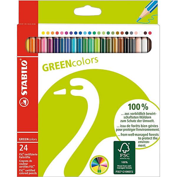 Набор цветных карандашей Stabilo Greencolours 24 цв., картонПисьменные принадлежности<br>Характеристики:<br><br>• возраст: от 3 лет<br>• в наборе: 24 карандаша<br>• количество цветов: 24<br>• диаметр грифеля: 2,5 мм.<br>• материал корпуса: древесина<br>• упаковка: картонная коробка<br>• размер упаковки: 21х16х1 см.<br>• вес: 150 гр.<br><br>Набор экологически безопасных цветных карандашей Stabilo Greencolours предназначен для детского творчества. Набор отмечен знаком FSC. Сертификат FSC - это надежный критерий качественной, экологически безопасной продукции, так как гарантирует контроль источника древесины.<br><br>Корпус карандашей изготовлен на 100% из возобновляемой древесины и покрыт лаком на водной основе. В состав грифелей входит пчелиный воск, благодаря чему грифели легко рисуют на бумаге, не царапая и не крошась, и обладают повышенной устойчивостью к нагрузкам - не ломаются при рисовании и затачивании.<br><br>Карандаши обеспечивают легкую смешиваемость цветов, мягкие, однородные по цвету линии и высокую устойчивость к свету, цвет не блекнет со временем.<br><br>Упаковка карандашей на 80% состоит из переработанного картона.<br><br>Набор цветных карандашей Stabilo Greencolours 24 цв., картон можно купить в нашем интернет-магазине.<br>Ширина мм: 209; Глубина мм: 172; Высота мм: 12; Вес г: 152; Возраст от месяцев: 60; Возраст до месяцев: 1188; Пол: Унисекс; Возраст: Детский; SKU: 2363404;