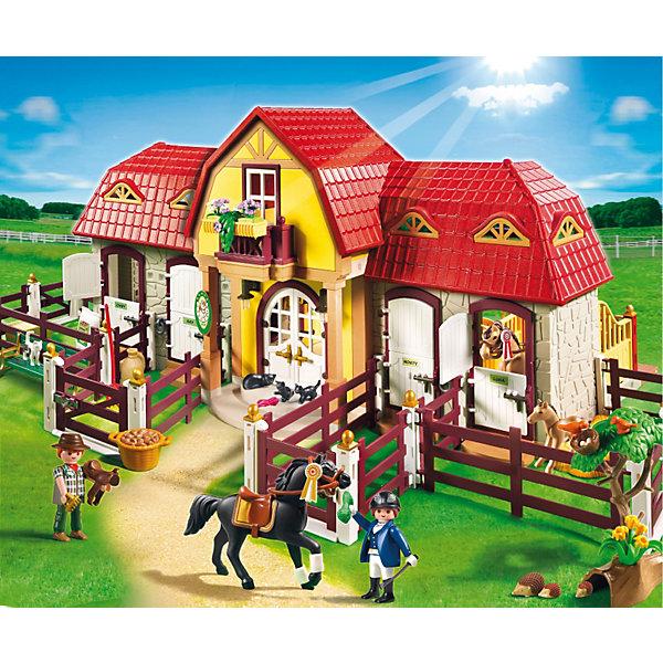 PLAYMOBIL 5221 Лошади: Большая конюшняИдеи подарков<br>Playmobil 5221 Большая конюшня – это превосходный деревенский домик с настоящими загонами для лошадей и небольшим двориком.<br>Этот набор Плеймобил сможет заинтересовать любого малыша, особенно если он любит лошадей и все, что с ними связано. С помощью такого набора с элементами конструктора можно узнать все о жизни лошадей и о уходе за ними.<br>Комплект включает в себя несколько фигурок человечков, 3 фигурки лошадей, животных – кошки, ежики, и множество предметов для уходы за лошадьми. Такой набор увлечет ребенка в игру надолго, поможет представить себя полноценным наездником и подарит массу положительных эмоций. Игровые наборы с элементами конструктора помогут развить мелкую моторику пальцев,  а заданная тематика разовьет воображение и логику. Любой мальчик будет рад такому подарку.<br><br>Состав:<br><br>Люди:<br>Женщина, мужчина. <br><br>Зверушки:<br>Арабская и немецкая спортивная лошадка с жеребенком, 2 кошки, 2 котенка, птица, еж, 2 младенца ежика. <br><br>Аксессуары:<br><br>Конюшня, 12 элементов забора, 18 соединительных элементов забора, дерево, солома в тюках, 4 пучка травы, яблоко, 2-морковь, ведро с травой, корзина с картошкой, 2 мешка, птичье гнездо, тачка, 2 кружки, 1 горшок, лопата, вилы, ухват, метла, 3 седла, сумка, шляпа, кепка для верховой езды, скамейка. <br><br>Четыре стойла для лошадей в конюшне и сеновал. Седла и аксессуары для верховой езды укладываются на крючки и полки на стенах при входе. Этикетки для маркировки именами лошадей.<br><br>Дополнительная информация:<br><br>- общее количество деталей: 486 шт.<br>- материал: пластик.<br>- фигурки людей могут нагибаться, двигать руками и головой.<br>- рост фигурок людей 7.5 см.<br>- размеры игрушки: 75 х 46 х 29 см.  <br>- размеры коробки: 60х50х15 см. <br>- вес: 4,1 кг.<br><br>Большую конюшню от PLAYMOBIL 5221 можно купить в нашем интернет-магазине.<br><br>Ширина мм: 595<br>Глубина мм: 502<br>Высота мм: 153<br>Вес г: 3970<br>Возраст от месяцев