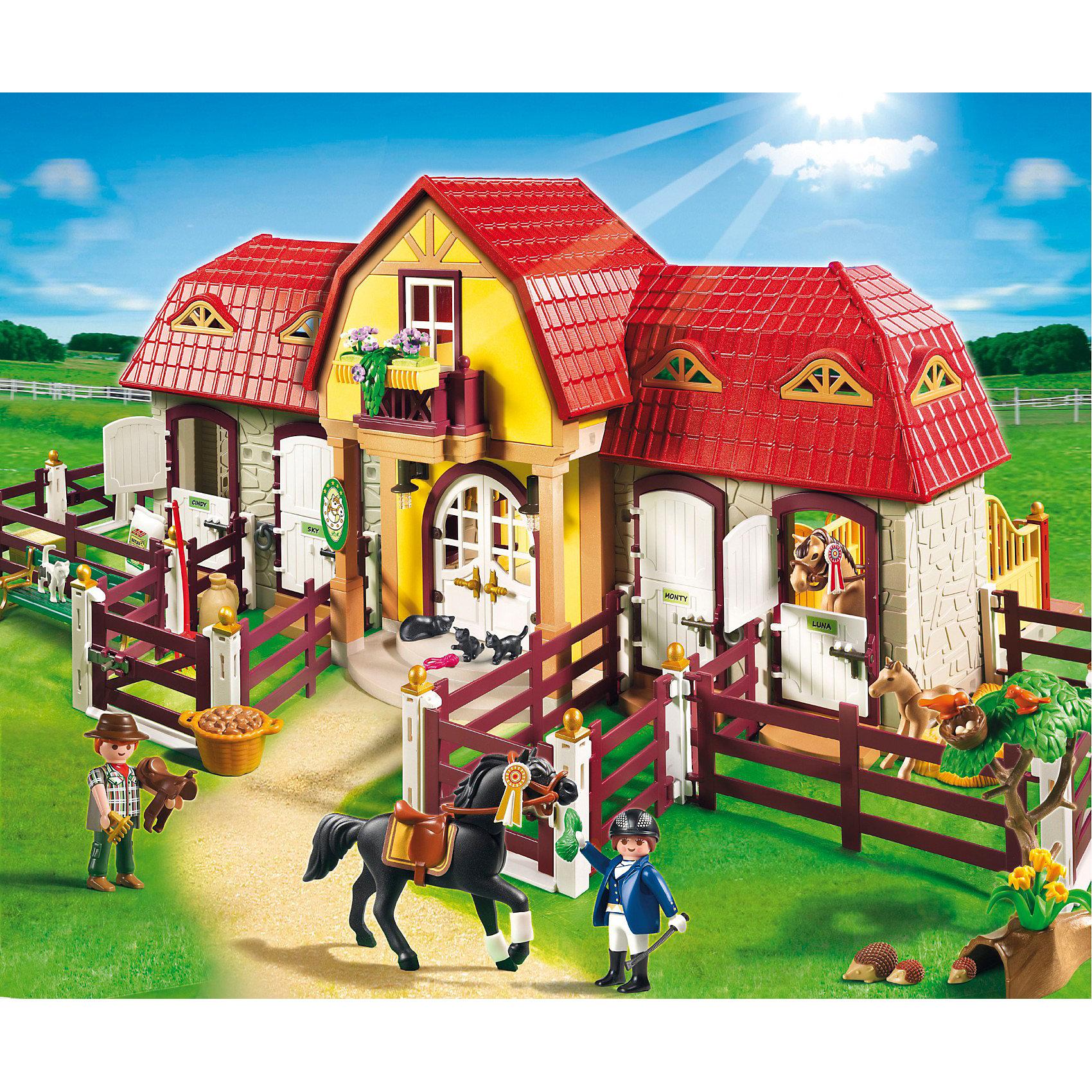 PLAYMOBIL 5221 Лошади: Большая конюшняPlaymobil 5221 Большая конюшня – это превосходный деревенский домик с настоящими загонами для лошадей и небольшим двориком.<br>Этот набор Плеймобил сможет заинтересовать любого малыша, особенно если он любит лошадей и все, что с ними связано. С помощью такого набора с элементами конструктора можно узнать все о жизни лошадей и о уходе за ними.<br>Комплект включает в себя несколько фигурок человечков, 3 фигурки лошадей, животных – кошки, ежики, и множество предметов для уходы за лошадьми. Такой набор увлечет ребенка в игру надолго, поможет представить себя полноценным наездником и подарит массу положительных эмоций. Игровые наборы с элементами конструктора помогут развить мелкую моторику пальцев,  а заданная тематика разовьет воображение и логику. Любой мальчик будет рад такому подарку.<br><br>Состав:<br><br>Люди:<br>Женщина, мужчина. <br><br>Зверушки:<br>Арабская и немецкая спортивная лошадка с жеребенком, 2 кошки, 2 котенка, птица, еж, 2 младенца ежика. <br><br>Аксессуары:<br><br>Конюшня, 12 элементов забора, 18 соединительных элементов забора, дерево, солома в тюках, 4 пучка травы, яблоко, 2-морковь, ведро с травой, корзина с картошкой, 2 мешка, птичье гнездо, тачка, 2 кружки, 1 горшок, лопата, вилы, ухват, метла, 3 седла, сумка, шляпа, кепка для верховой езды, скамейка. <br><br>Четыре стойла для лошадей в конюшне и сеновал. Седла и аксессуары для верховой езды укладываются на крючки и полки на стенах при входе. Этикетки для маркировки именами лошадей.<br><br>Дополнительная информация:<br><br>- общее количество деталей: 486 шт.<br>- материал: пластик.<br>- фигурки людей могут нагибаться, двигать руками и головой.<br>- рост фигурок людей 7.5 см.<br>- размеры игрушки: 75 х 46 х 29 см.  <br>- размеры коробки: 60х50х15 см. <br>- вес: 4,1 кг.<br><br>Большую конюшню от PLAYMOBIL 5221 можно купить в нашем интернет-магазине.<br><br>Ширина мм: 595<br>Глубина мм: 502<br>Высота мм: 153<br>Вес г: 3970<br>Возраст от месяцев: 60<br>Возраст д