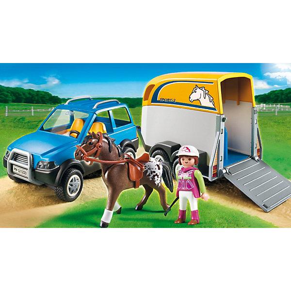 PLAYMOBIL 5223 Лошади: Джип с трейлером для перевозки лошадейПластмассовые конструкторы<br>На джипе с трейлером Playmobil 5223 можно перевезти любимую лошадку куда угодно. Например, на соревнования или на ежегодную ярмарку или выставку. Трейлер предназначен для перевозки лошадей, так что вашей любимице будет очень удобно! Игровой набор Джип с трейлером для перевозки лошадей Плеймобил совмещается с другими наборами серии «Конный клуб, Лошади».<br><br>Состав:<br><br>Люди:<br>Женщина<br><br>Зверушки:<br>Колорадский иноходец.<br><br>Аксессуары:<br><br>Автомобиль, фургон для перевозки лошадей, кепка для верховой езды, головной убор, седло, попона, уздечка, трость, короб .<br><br>Дополнительная информация:<br><br>В трейлере помещается две лошади. <br><br>- комплект состоит из 57 деталей.<br>- размеры игрушки:<br>- материал: высококачественная пластмасса<br>- высота конюха - 7,5 см.<br>- высота лошади - 10 см.<br>- размер джипа - 17,5 х 10 х 7,5 см.<br>- размер фургона - 17,5 х 9,5 х 11,5 см. <br>- вес: 600 гр. <br>- габариты коробки: 35х20х10 см.<br><br>Джип с трейлером для перевозки лошадей от PLAYMOBIL 5223 можно купить в нашем интернет-магазине.<br><br>Ширина мм: 353<br>Глубина мм: 200<br>Высота мм: 104<br>Вес г: 623<br>Возраст от месяцев: 60<br>Возраст до месяцев: 120<br>Пол: Женский<br>Возраст: Детский<br>SKU: 2382697