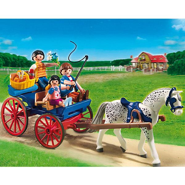 PLAYMOBIL 5226 Лошади: Повозка, запряженная лошадьюПластмассовые конструкторы<br>PLAYMOBIL 5226 Лошади: Повозка, запряженная лошадью   — это семья, которая отправилась покататься по ферме в повозке, запряженной лошадью. Как же им всем весело летом провести время на пикнике! Особенно, если есть лошадка, которую можно запрячь в тележку. Тогда даже дорога будет приятной и интересной. <br>Оседлайте лошадку, прицепите к ней карету, соберите все принадлежности для пикника в корзину и вперёд в дорогу. Карета имеет четыре места, что позволяет сесть двум взрослым людям, одной маленькой девочки и оставить место для корзины.<br>Увлекательный конструктор (игровой набор) Плеймобил понравится любому ребенку. Изготовлен набор из удобных для сборки деталей. Яркие цвета и огромное количество сюжетов, заинтересуют Вашего ребенка. Набор безопасен, его можно помыть. Такой игровой конструктор поможет вашему ребенку развивать творческие способности, усидчивость и терпение, и получать удовольствие от своей игры.<br>В комплект входит: одна лошадка, карета, плётка, набор для пикника, корзина, две фигурки взрослых людей и одна фигурка маленького ребёнка.<br><br>Дополнительная информация:<br><br>- материал: качественный и прочный пластик<br>- количество  деталей: 45 шт.<br>- размеры игрушки: <br>- фигурки взрослых высота: 7,5 см.<br>- ребенка : 5,25 см.<br>- упаковка: картонная коробка<br>- размер коробки: 25х20х7,5 см.<br><br>Повозку, запряженную лошадью от PLAYMOBIL 5226 можно купить в нашем интернет-магазине.<br>Ширина мм: 256; Глубина мм: 203; Высота мм: 81; Вес г: 283; Возраст от месяцев: 60; Возраст до месяцев: 120; Пол: Женский; Возраст: Детский; SKU: 2382700;