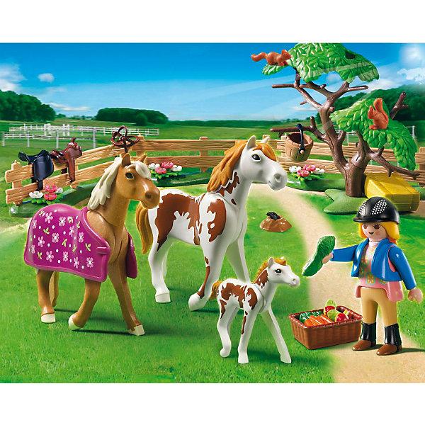 Лошади: Загон для лошадей, PLAYMOBILПластмассовые конструкторы<br>PLAYMOBIL 5227: Для прогулки всей лошадиной семьи лошадок и их маленького жеребенка фермеры построили загон. Теперь можно без опаски оставить малыша одного. Наездница приносит лошадкам овощи и фрукты. Также в наборе Плеймобил 5227 есть все необходимое для ухода за животными, и раскидистое дерево для создания пейзажа. В наборе три фигурки лошадок, фермер, элементы забора, корзинка с овощами, дерево и другие детали. Всего в наборе 50 деталей.  Фигурка человека может  нагибаться, двигать руки и голову. <br>В комплект входит: две лошадки, одна пони, одна фигурка человека, дерево, две белочки, норка с кротом, сено, овощи и фрукты для еды лошадкам.<br><br>Состав:<br><br>Люди:<br>Женщина<br><br>Зверушки:<br>Лошадь пегая, жеребенок пегий, конь, 2 белки.<br><br>Аксессуары:<br><br>Дерево, попона, 3 элемента забора, кадушка, корзина, брикет с сеном, морковь, пучок травы, яблоки.<br> <br>Дополнительная информация:<br><br>- комплект состоит из 50 деталей.<br>- материал: высококачественная пластмасса. <br>- размер фигурки человека:  7,5 см. (высота)<br>- размеры коробки: 25х20х7,5 см.<br>- вес 0,324 кг.<br><br>Загон для лошадей от PLAYMOBIL можно купить в нашем интернет-магазине.<br><br>Ширина мм: 255<br>Глубина мм: 200<br>Высота мм: 81<br>Вес г: 321<br>Возраст от месяцев: 60<br>Возраст до месяцев: 120<br>Пол: Женский<br>Возраст: Детский<br>SKU: 2382701