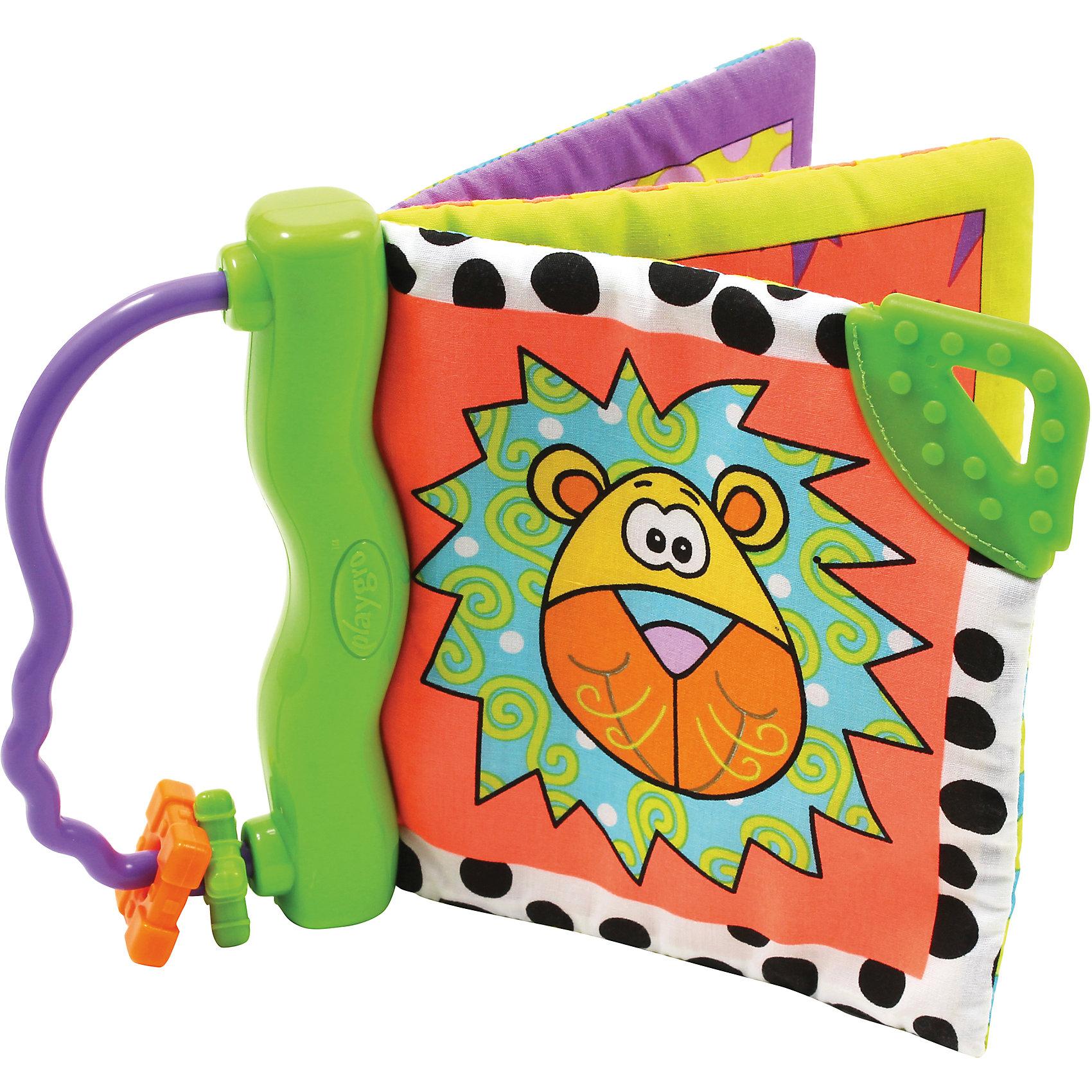 Книжка-прорезыватель Зоопарк PlaygroИгрушки для малышей<br>Книжка-прорезыватель Зоопарк Playgro (Плейгро) - первая книжка Вашего малыша! <br><br>С веселыми картинками книжки-прорезывателя Ваша кроха не только будет играть долгое время, но и сможет пожевать иголок - удобный рельефный прорезыватель поможет успокоить режущиеся зубки и воспаленные десна, пока забавная игрушка отвлекает малыша. К пластиковому основанию прикреплены страницы из хлопчатобумажной ткани с фактурными нашивками и шуршащим эффектом. <br><br>Книжку-прорезыватель Зоопарк Playgro можно купить в нашем интернет-магазине.<br><br>Дополнительная информация:<br>- Размер упаковки: 14,5 х 2 х 14,5 см.<br><br>Ширина мм: 145<br>Глубина мм: 20<br>Высота мм: 145<br>Вес г: 50<br>Возраст от месяцев: 6<br>Возраст до месяцев: 24<br>Пол: Унисекс<br>Возраст: Детский<br>SKU: 2382855