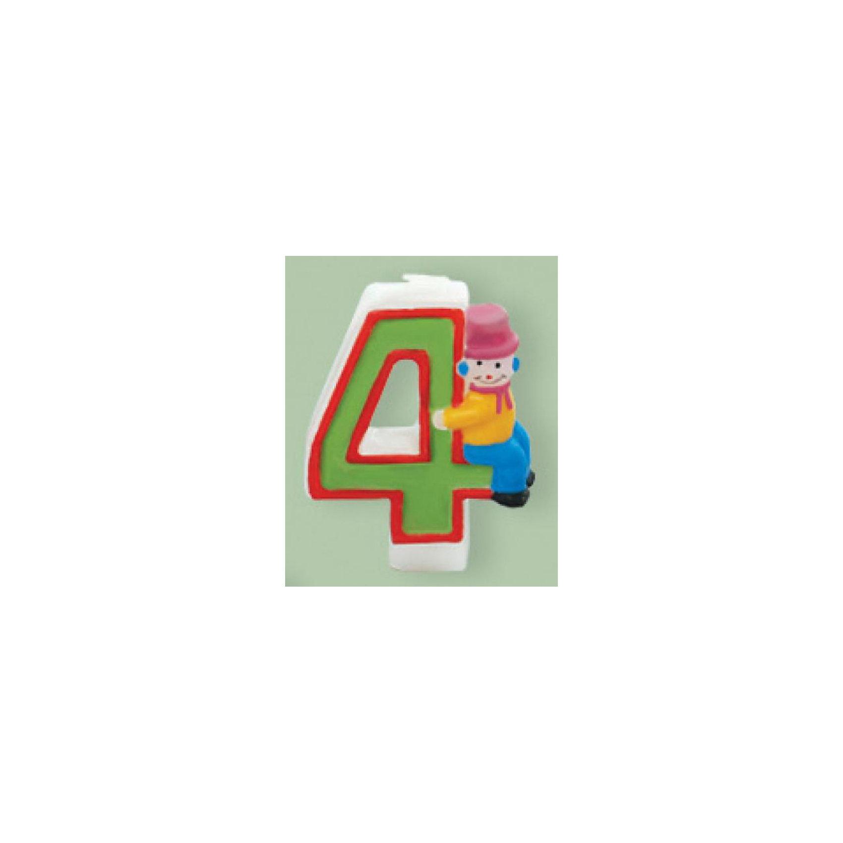 PARTIC Свеча-цифра «4» клоун 6,5см.
