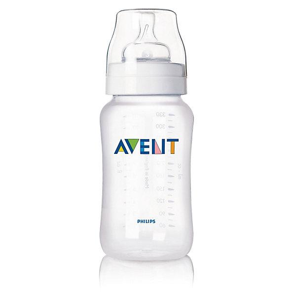 Бутылочка для кормления , 330 мл, РР, AVENT300 - 380 мл.<br>Бутылочки серии Классика 330 мл., 1 шт. (соска с переменным потоком) помогает легче совмещать грудное вскармливание и кормление из бутылочки и значительно снижает риск возникновения колик и беспокойства, особенно в ночное время. <br><br>Преимущества:<br>• Естественный захват благодаря широкой соске, повторяющей форму груди. Соска сгибается в соответствии с ритмом кормления<br>• Новая антиколиковая система с инновационным двойным клапаном <br>• Эргономичная форма для максимального комфорта<br>• Совместима с изделиями линейки Philips AVENT (Авент)<br>• Простота в использовании и очистке, быстрая и удобная сборка<br><br>Дополнительная информация:<br>• Бутылочка не содержит бисфенола-А<br>• Доступны соски с различной скоростью потока<br>• Всегда используйте соединительное кольцо<br>• Бутылочка состоит всего из трех компонентов, что облегчает очистку, <br>и имеет стандартный колпачок для гигиеничного хранения и транспортировки <br>• В комплекте: бутылочка для кормления 1 шт.<br><br>Рекомендуемый возраст: 0-6 мес.<br>Ширина мм: 70; Глубина мм: 190; Высота мм: 70; Вес г: 137; Возраст от месяцев: 0; Возраст до месяцев: 36; Пол: Унисекс; Возраст: Детский; SKU: 2388166;
