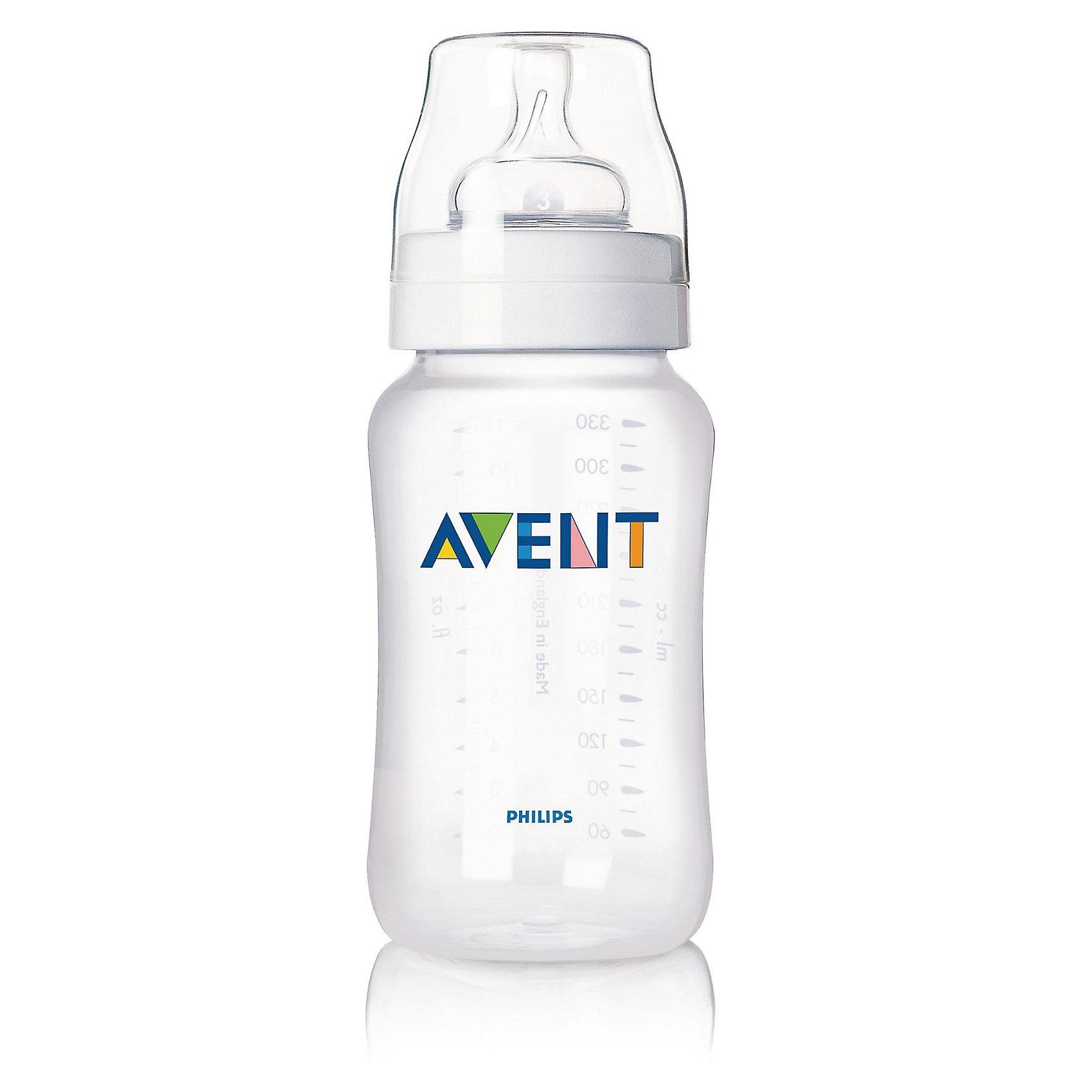 Бутылочка для кормления , 330 мл, РР, AVENT300 - 380 мл.<br>Бутылочки серии Классика 330 мл., 1 шт. (соска с переменным потоком) помогает легче совмещать грудное вскармливание и кормление из бутылочки и значительно снижает риск возникновения колик и беспокойства, особенно в ночное время. <br><br>Преимущества:<br>• Естественный захват благодаря широкой соске, повторяющей форму груди. Соска сгибается в соответствии с ритмом кормления<br>• Новая антиколиковая система с инновационным двойным клапаном <br>• Эргономичная форма для максимального комфорта<br>• Совместима с изделиями линейки Philips AVENT (Авент)<br>• Простота в использовании и очистке, быстрая и удобная сборка<br><br>Дополнительная информация:<br>• Бутылочка не содержит бисфенола-А<br>• Доступны соски с различной скоростью потока<br>• Всегда используйте соединительное кольцо<br>• Бутылочка состоит всего из трех компонентов, что облегчает очистку, <br>и имеет стандартный колпачок для гигиеничного хранения и транспортировки <br>• В комплекте: бутылочка для кормления 1 шт.<br><br>Рекомендуемый возраст: 0-6 мес.<br><br>Ширина мм: 70<br>Глубина мм: 190<br>Высота мм: 70<br>Вес г: 137<br>Возраст от месяцев: 0<br>Возраст до месяцев: 36<br>Пол: Унисекс<br>Возраст: Детский<br>SKU: 2388166