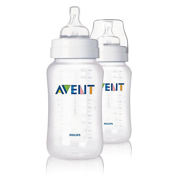 Бутылочка для кормления 330 мл, РР, 2шт., AVENTХиты продаж<br>Бутылочка AVENT Classic Philips 330 мл., 2 шт (соска с переменным потоком) значительно снижает риск возникновения колик и раздражительности, особенно в ночное время.<br><br>Преимущества:<br>• Бутылочка для кормления AVENT отличается простотой сборки и высокой гигиеничностью.<br>• Естественная форма соски соответствует форме женской груди и обеспечивает правильный захват. <br>• Эргономичная форма для максимального комфорта, позволяет ребенку удобно держать бутылочку при кормлении. <br>• Наличие четкой шкалы на корпусе помогает вам оценить количество выпитого ребенком молока.  <br>• Уникальный односторонний воздушный клапан Philips AVENT (Авент)  закрывается и открывается вместе с<br>естественным ритмом сосания малыша и позволяет воздуху непрерывно попадать внутрь бутылочки, замещая жидкость по мере ее расхода.<br><br>Дополнительная информация:<br>• Совместима с изделиями линейки Philips AVENT (Авент)<br>• Бутылочка не содержит бисфенола-А*<br>• Доступны соски с различной скоростью потока<br>• Всегда используйте соединительное кольцо<br>• Бутылочка состоит всего из трех компонентов, что облегчает очистку, <br>и имеет стандартный колпачок для гигиеничного хранения и транспортировки <br><br>В комплекте: 2 бутылочки AVENT для кормления 330 мл, 2 соски с переменным потоком.<br><br>Рекомендуемый возраст: 0-6 мес.<br><br>Ширина мм: 69<br>Глубина мм: 178<br>Высота мм: 140<br>Вес г: 216<br>Возраст от месяцев: 0<br>Возраст до месяцев: 36<br>Пол: Унисекс<br>Возраст: Детский<br>SKU: 2388167