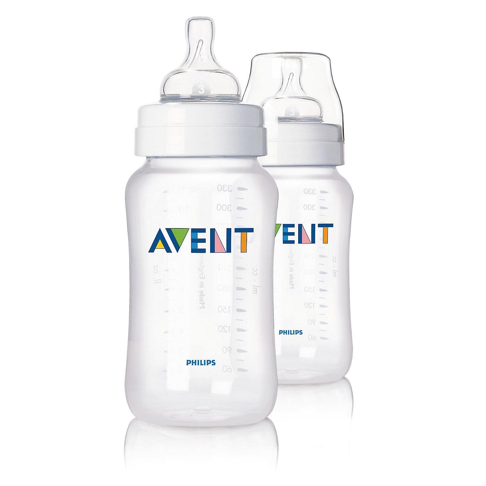 Бутылочка для кормления 330 мл, РР, 2шт., AVENTБутылочка AVENT Classic Philips 330 мл., 2 шт (соска с переменным потоком) значительно снижает риск возникновения колик и раздражительности, особенно в ночное время.<br><br>Преимущества:<br>• Бутылочка для кормления AVENT отличается простотой сборки и высокой гигиеничностью.<br>• Естественная форма соски соответствует форме женской груди и обеспечивает правильный захват. <br>• Эргономичная форма для максимального комфорта, позволяет ребенку удобно держать бутылочку при кормлении. <br>• Наличие четкой шкалы на корпусе помогает вам оценить количество выпитого ребенком молока.  <br>• Уникальный односторонний воздушный клапан Philips AVENT (Авент)  закрывается и открывается вместе с<br>естественным ритмом сосания малыша и позволяет воздуху непрерывно попадать внутрь бутылочки, замещая жидкость по мере ее расхода.<br><br>Дополнительная информация:<br>• Совместима с изделиями линейки Philips AVENT (Авент)<br>• Бутылочка не содержит бисфенола-А*<br>• Доступны соски с различной скоростью потока<br>• Всегда используйте соединительное кольцо<br>• Бутылочка состоит всего из трех компонентов, что облегчает очистку, <br>и имеет стандартный колпачок для гигиеничного хранения и транспортировки <br><br>В комплекте: 2 бутылочки AVENT для кормления 330 мл, 2 соски с переменным потоком.<br><br>Рекомендуемый возраст: 0-6 мес.<br><br>Ширина мм: 69<br>Глубина мм: 178<br>Высота мм: 140<br>Вес г: 216<br>Возраст от месяцев: 0<br>Возраст до месяцев: 36<br>Пол: Унисекс<br>Возраст: Детский<br>SKU: 2388167