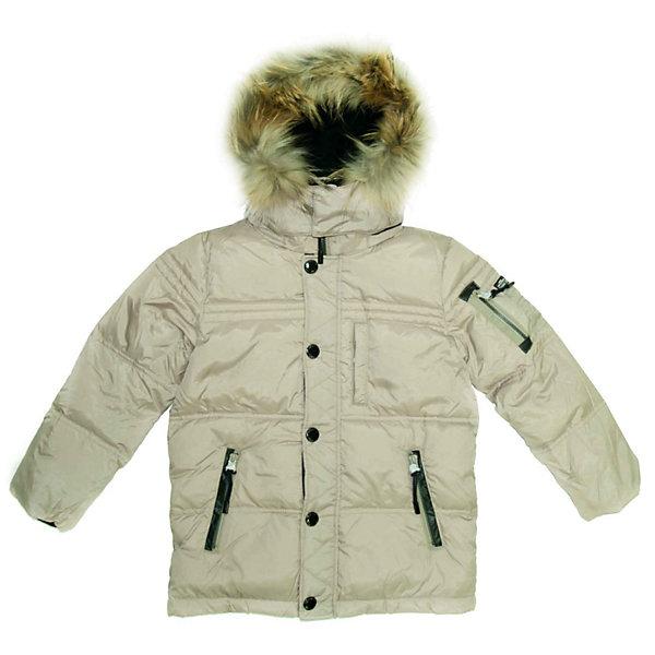 SNOWIMAGE Куртка для мальчикаВерхняя одежда<br>Потрясающая куртка для мальчика. Предназначена для использования в холодное время года при температуре воздуха от 0 до -35 градусов. Обладает следующими особенностями:<br>- бежевый цвет;<br>- гладкий, шелковистый, очень приятный на ощупь полиэстер;<br>- утеплитель: 70% пух белой утки, 30% перо – естественный теплоизолятор в любых погодных условиях, легкий, свободно дышащий, долговечный;<br>- модная широкая горизонтальная простежка;<br>- аппликация с лого на левом плече;<br>- застежка-молния с внутренней ветрозащитной планкой, широкая внешняя простеганная планка на кнопках, пуллеры;<br>- рукава с внутренними теплыми трикотажными манжетами черного цвета, препятствующими попаданию внутрь снега и воды;<br>- воротник-стойка изнутри проложен флисом для максимального комфорта;<br>- теплый простеганный капюшон на молнии регулируется кулиской-резинкой со стопперами, с натуральной меховой опушкой из енота, которую при желании можно отстегнуть, глубина капюшона регулируется хлястиком, спереди застегивается на 2 кнопки;<br>- 2 боковых , 1 нагрудный и 1 нарукавный карман на молнии, 1 внутренний карман на велкро;<br>- подкладка выполнена из мягкого и теплого флиса черного цвета, подкладка низа и рукавов – из мягкого полиэстера черного цвета, предусмотрено место для подписи вещи на случай утери;<br>- низ регулируется кулиской;<br>- петля для вешалки.<br><br>Ширина мм: 356<br>Глубина мм: 10<br>Высота мм: 245<br>Вес г: 519<br>Цвет: бежевый<br>Возраст от месяцев: 60<br>Возраст до месяцев: 108<br>Пол: Мужской<br>Возраст: Детский<br>Размер: 128,110,116,134,122<br>SKU: 2390732