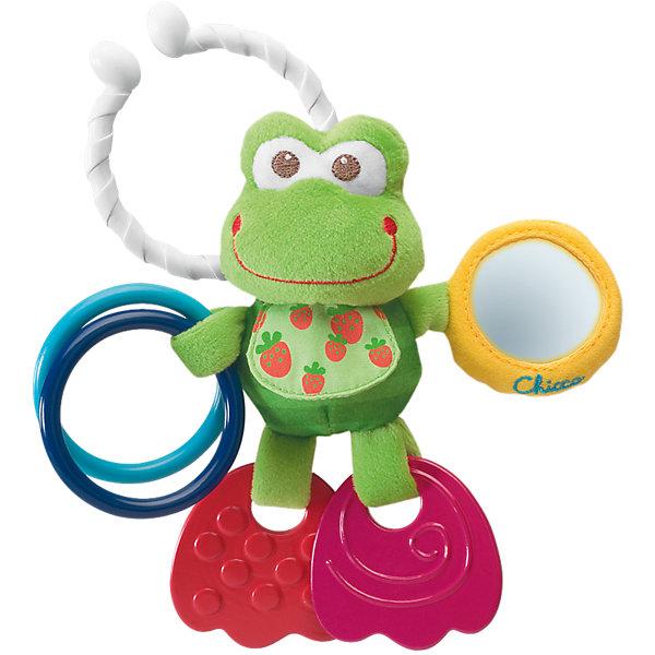 Развивающая игрушка Подвижный лягушонок, ChiccoИгрушки для новорожденных<br>Развивающая игрушка Подвижный лягушонок Chicco (Чикко) -  это симпатичный новый друг, которого Ваш малыш сможет взять с собой благодаря удобному держателю!<br><br>Очаровательный лягушонок побуждает ребенка играть в различные игры: лапки лягушонка сделаны из мягкого пластика и служат прорезывателями для зубов, в зеркальце малыш будет видеть свое отражение, а два колечка, ударяясь друг о друга, весело звенят. <br><br>Этот милый лягушонок поможет крохе развивать мелкую моторику рук, хватательный рефлекс, сенсорику, логическое мышление.<br><br>Игрушка оснащена удобной системой крепления - ее можно подвесить к кроватке, коляске или автокреслу с помощью специального кольца.<br><br>Товар изготовлен из качественной и очень мягкой ткани, которая совершенно безвредна для здоровья малыша.<br><br>Озорной лягушонок от Chicco подарит радость и хорошее настроение Вашему малышу!<br><br>Дополнительная информация:<br><br>- Материал: текстиль, пластмасса<br>- Размер упаковки: 16,5 х 20 х 15,5 см<br>- Можно стирать в стиральной машине<br><br>Развивающую игрушку «Подвижный лягушонок» Chicco можно купить в нашем интернет-магазине.<br><br>Ширина мм: 220<br>Глубина мм: 169<br>Высота мм: 53<br>Вес г: 104<br>Возраст от месяцев: 3<br>Возраст до месяцев: 9<br>Пол: Унисекс<br>Возраст: Детский<br>SKU: 2395268