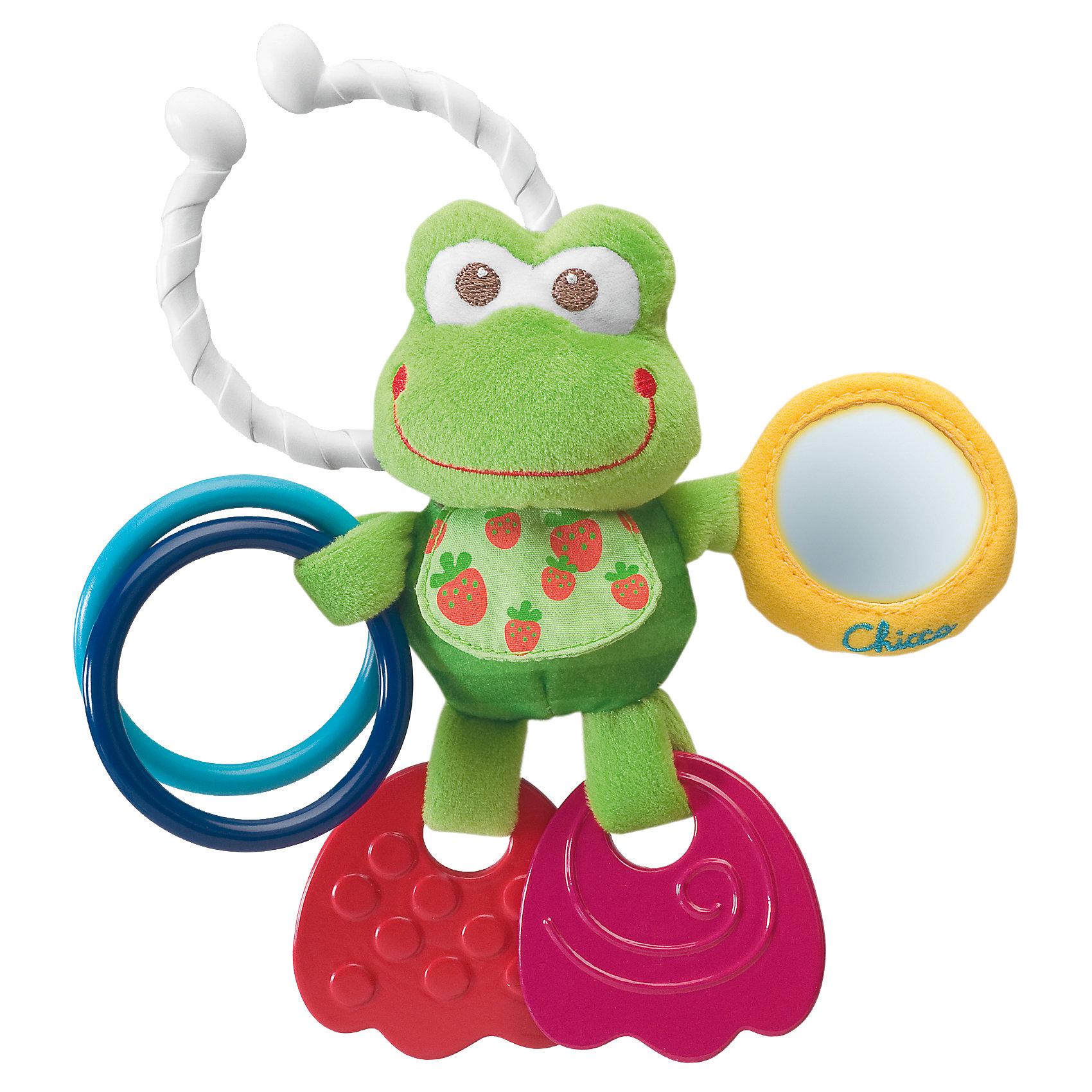 Развивающая игрушка Подвижный лягушонок, ChiccoПодвески<br>Развивающая игрушка Подвижный лягушонок Chicco (Чикко) -  это симпатичный новый друг, которого Ваш малыш сможет взять с собой благодаря удобному держателю!<br><br>Очаровательный лягушонок побуждает ребенка играть в различные игры: лапки лягушонка сделаны из мягкого пластика и служат прорезывателями для зубов, в зеркальце малыш будет видеть свое отражение, а два колечка, ударяясь друг о друга, весело звенят. <br><br>Этот милый лягушонок поможет крохе развивать мелкую моторику рук, хватательный рефлекс, сенсорику, логическое мышление.<br><br>Игрушка оснащена удобной системой крепления - ее можно подвесить к кроватке, коляске или автокреслу с помощью специального кольца.<br><br>Товар изготовлен из качественной и очень мягкой ткани, которая совершенно безвредна для здоровья малыша.<br><br>Озорной лягушонок от Chicco подарит радость и хорошее настроение Вашему малышу!<br><br>Дополнительная информация:<br><br>- Материал: текстиль, пластмасса<br>- Размер упаковки: 16,5 х 20 х 15,5 см<br>- Можно стирать в стиральной машине<br><br>Развивающую игрушку «Подвижный лягушонок» Chicco можно купить в нашем интернет-магазине.<br><br>Ширина мм: 220<br>Глубина мм: 169<br>Высота мм: 53<br>Вес г: 104<br>Возраст от месяцев: 3<br>Возраст до месяцев: 9<br>Пол: Унисекс<br>Возраст: Детский<br>SKU: 2395268