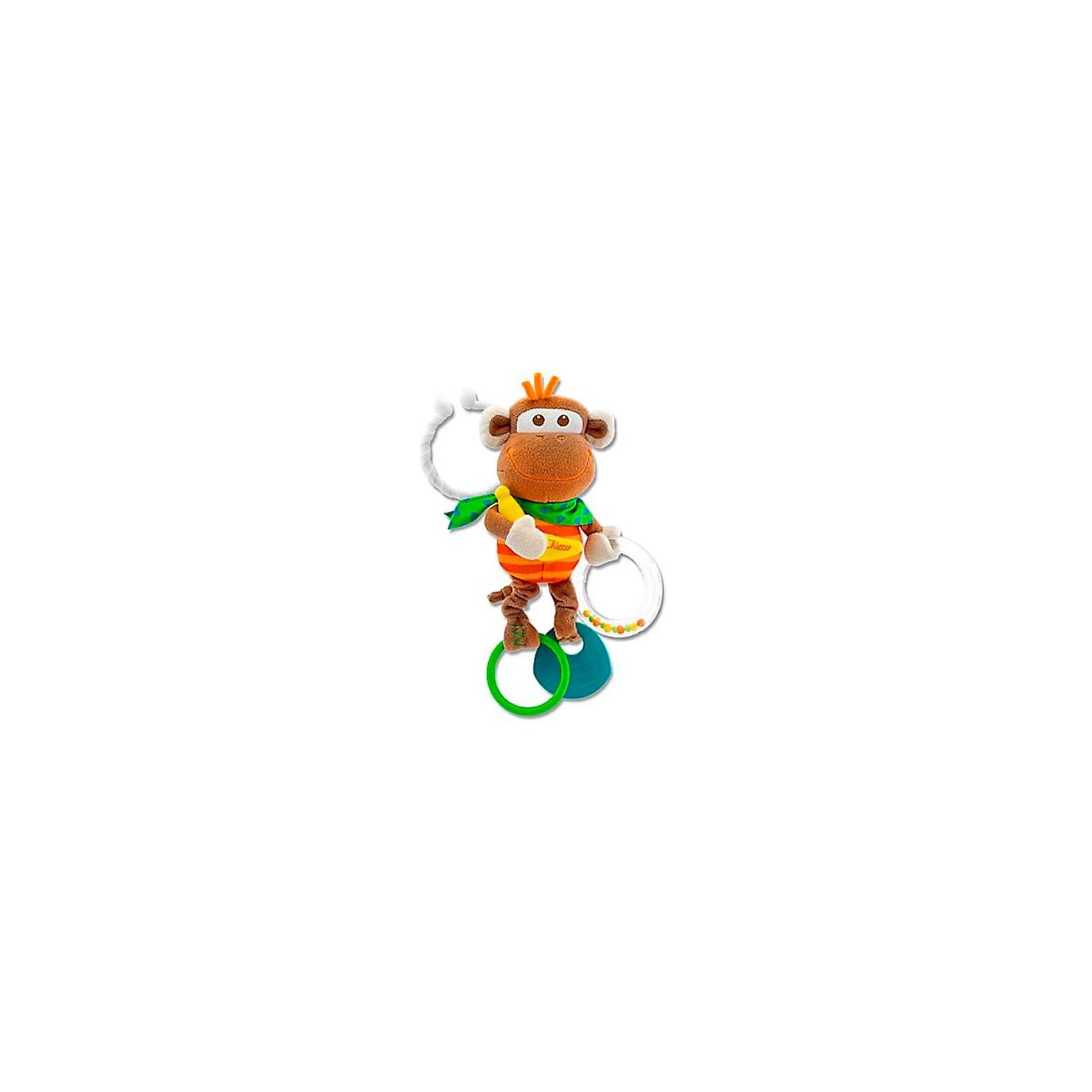 Развивающая игрушка «Обезьянка», ChiccoПогремушки<br>Развивающая игрушка «Обезьянка» Chicco (Чико) - смешная маленькая обезьянка с удобной системой крепления!<br><br>Очаровательная маленькая обезьянка, которую ребенок может взять с собой, благодаря удобному держателю. Она побуждает ребенка играть в различные игры: лапки обезьянки вибрируют, цветные шарики перекатываются в прозрачном колечке, банан шуршит, а мягкий пластик облегчает прорезывание зубов у детей. <br><br>Развивающую игрушку «Обезьянка» Chicco можно купить в нашем интернет-магазине.<br><br>Ширина мм: 375<br>Глубина мм: 240<br>Высота мм: 300<br>Вес г: 223<br>Возраст от месяцев: 3<br>Возраст до месяцев: 9<br>Пол: Унисекс<br>Возраст: Детский<br>SKU: 2395269