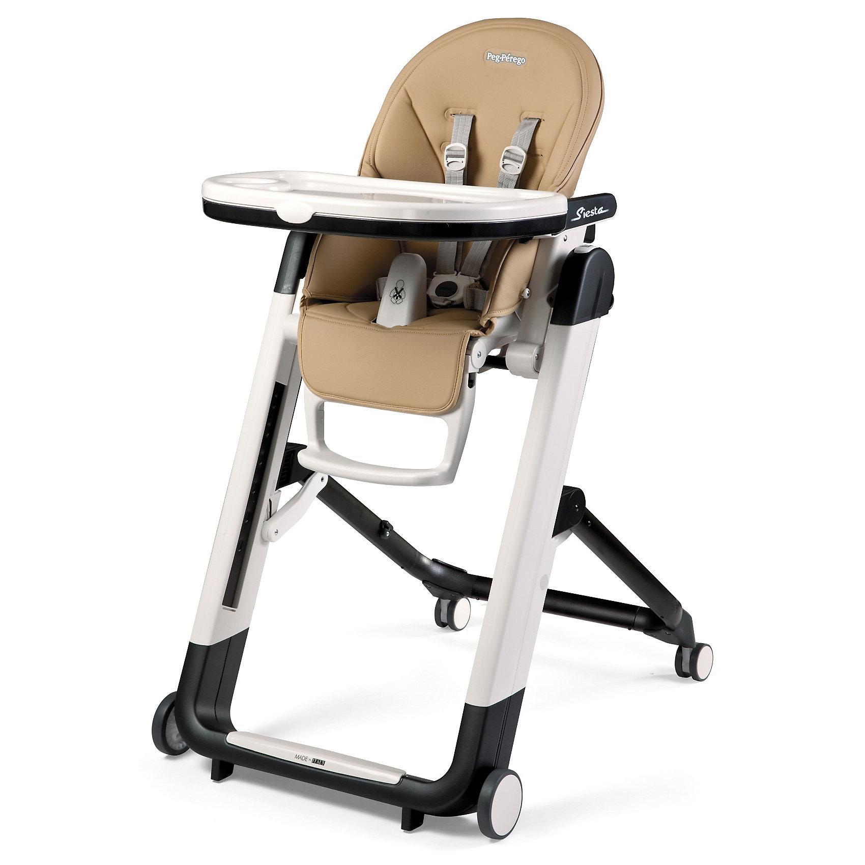 Стульчик для кормления Siesta, Peg-Perego, Noce бежевыйот рождения<br>Удобный и функциональный стульчик Siesta, Peg-Perego, обеспечит комфорт и безопасность Вашего малыша во время кормления. Спинка сиденья легко регулируется в 5 положениях (вплоть до горизонтального), что позволяет использовать стульчик как для кормления так и для игр и<br>сна. Широкое и эргономичное мягкое сиденье будет удобно как малышу, так и ребенку постарше. Стульчик оснащен регулируемыми 5-точечными ремнями безопасности, а планка-разделитель для ножек под столиком не даст малышу соскользнуть. Высота стула регулируется в 9<br>положениях (от 33 до 65 см. от пола). Подножка регулируется в 3 позициях, позволяя выбрать оптимальное для ребенка положение. На задней части спинки размещается сетка для мелочей.<br><br>Широкий съемный столик оснащен подносом с отделениями для кружки или стакана, поднос можно снять для быстрой чистки и использовать основную поверхность для игр и занятий. Для детей постарше стул можно использовать без столика для кормления, придвинув его к столу<br>для взрослых. Ножки оснащены колесиками с блокираторами, что позволяет легко перемещать стульчик по комнате. Кожаный чехол легко снимается для чистки. Стульчик легко и компактно складывается и занимает мало места при хранении. Подходит для детей в возрасте от 0<br>месяцев до 3 лет.<br><br>Дополнительная информация:<br><br>- Цвет: Noce бежевый.<br>- Материал: пластик, эко-кожа.<br>- Высота спинки сиденья: 44 см.<br>- Ширина сиденья: 27 см.<br>- Размер в разложенном состоянии: 60 х 75 х 104,5 см. <br>- Размер в сложенном состоянии: 60 х 35 х 89 cм. <br>- Вес: 7,6 кг.<br><br>Стульчик для кормления Siesta, Peg-Perego, Noce бежевый, можно купить в нашем интернет-магазине.<br><br>Ширина мм: 900<br>Глубина мм: 620<br>Высота мм: 280<br>Вес г: 13370<br>Цвет: бежевый<br>Возраст от месяцев: 0<br>Возраст до месяцев: 36<br>Пол: Унисекс<br>Возраст: Детский<br>SKU: 2396301