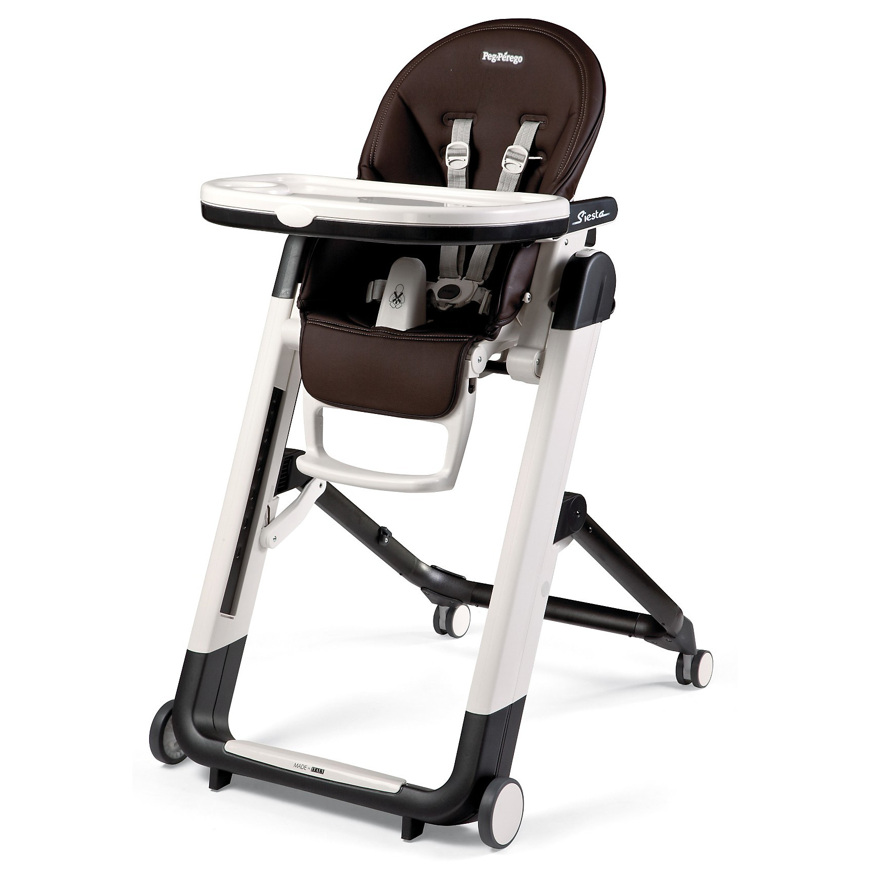 Стульчик для кормления Siesta, Peg-Perego, Cacao шоколадот рождения<br>Удобный и функциональный стульчик Siesta, Peg-Perego, обеспечит комфорт и безопасность Вашего малыша во время кормления. Спинка сиденья легко регулируется в 5 положениях (вплоть до горизонтального), что позволяет использовать стульчик как для кормления так и для игр и<br>сна. Широкое и эргономичное мягкое сиденье будет удобно как малышу, так и ребенку постарше. Стульчик оснащен регулируемыми 5-точечными ремнями безопасности, а планка-разделитель для ножек под столиком не даст малышу соскользнуть. Высота стула регулируется в 9<br>положениях (от 33 до 65 см. от пола). Подножка регулируется в 3 позициях, позволяя выбрать оптимальное для ребенка положение. На задней части спинки размещается сетка для мелочей.<br><br>Широкий съемный столик оснащен подносом с отделениями для кружки или стакана, поднос можно снять для быстрой чистки и использовать основную поверхность для игр и занятий. Для детей постарше стул можно использовать без столика для кормления, придвинув его к столу<br>для взрослых. Ножки оснащены колесиками с блокираторами, что позволяет легко перемещать стульчик по комнате. Кожаный чехол легко снимается для чистки. Стульчик легко и компактно складывается и занимает мало места при хранении. Подходит для детей в возрасте от 0<br>месяцев до 3 лет.<br><br>Дополнительная информация:<br><br>- Цвет: Cacao шоколад.<br>- Материал: пластик, эко-кожа.<br>- Высота спинки сиденья: 44 см.<br>- Ширина сиденья: 27 см.<br>- Размер в разложенном состоянии: 60 х 75 х 104,5 см. <br>- Размер в сложенном состоянии: 60 х 35 х 89 cм. <br>- Вес: 7,6 кг.<br><br>Стульчик для кормления Siesta, Peg-Perego, Cacao шоколад, можно купить в нашем интернет-магазине.<br><br>Ширина мм: 910<br>Глубина мм: 630<br>Высота мм: 300<br>Вес г: 13600<br>Цвет: коричневый<br>Возраст от месяцев: 0<br>Возраст до месяцев: 36<br>Пол: Унисекс<br>Возраст: Детский<br>SKU: 2396302