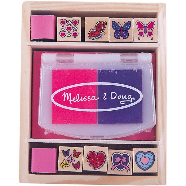 Набор печатей Бабочки и сердечки, Melissa &amp; DougДетские печати и штампы<br>Отличный набор серии «Творчество», хранящийся в удобном деревянном ящичке. <br><br>В набор печатей «Бабочки и сердечки» входит двухцветная нетоксичная штемпельная подушечка, 8 печатей с изображениями бабочек и сердечек. <br><br>С этими штампиками ваш ребенок сможет создать красивые рисунки. Очень актуальная игрушка для детей, которые пока еще слишком малы и не умеют рисовать. <br><br>Чернила с печатей смываются, благодаря чему Ваш маленький художник может неоднократно радовать Вас яркими картинками. <br><br>Дополнительная информация:<br><br>Материал: дерево<br>Размер: 5 х 13 х 16 см<br>В комплекте 8 штампов и двухцветная подушечка<br><br>Набор печатей Бабочки и сердечки, Melissa &amp; Doug можно купить в нашем магазине.<br><br>Ширина мм: 50<br>Глубина мм: 160<br>Высота мм: 130<br>Вес г: 290<br>Возраст от месяцев: 48<br>Возраст до месяцев: 84<br>Пол: Женский<br>Возраст: Детский<br>SKU: 2401064