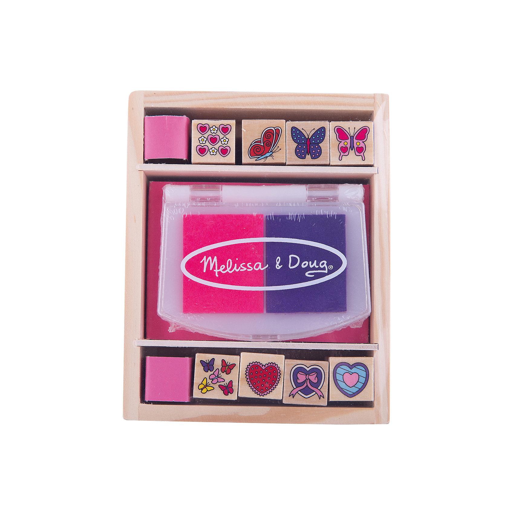 Набор печатей Бабочки и сердечки, Melissa &amp; DougРисование<br>Отличный набор серии «Творчество», хранящийся в удобном деревянном ящичке. <br><br>В набор печатей «Бабочки и сердечки» входит двухцветная нетоксичная штемпельная подушечка, 8 печатей с изображениями бабочек и сердечек. <br><br>С этими штампиками ваш ребенок сможет создать красивые рисунки. Очень актуальная игрушка для детей, которые пока еще слишком малы и не умеют рисовать. <br><br>Чернила с печатей смываются, благодаря чему Ваш маленький художник может неоднократно радовать Вас яркими картинками. <br><br>Дополнительная информация:<br><br>Материал: дерево<br>Размер: 5 х 13 х 16 см<br>В комплекте 8 штампов и двухцветная подушечка<br><br>Набор печатей Бабочки и сердечки, Melissa &amp; Doug можно купить в нашем магазине.<br><br>Ширина мм: 50<br>Глубина мм: 160<br>Высота мм: 130<br>Вес г: 290<br>Возраст от месяцев: 48<br>Возраст до месяцев: 84<br>Пол: Женский<br>Возраст: Детский<br>SKU: 2401064