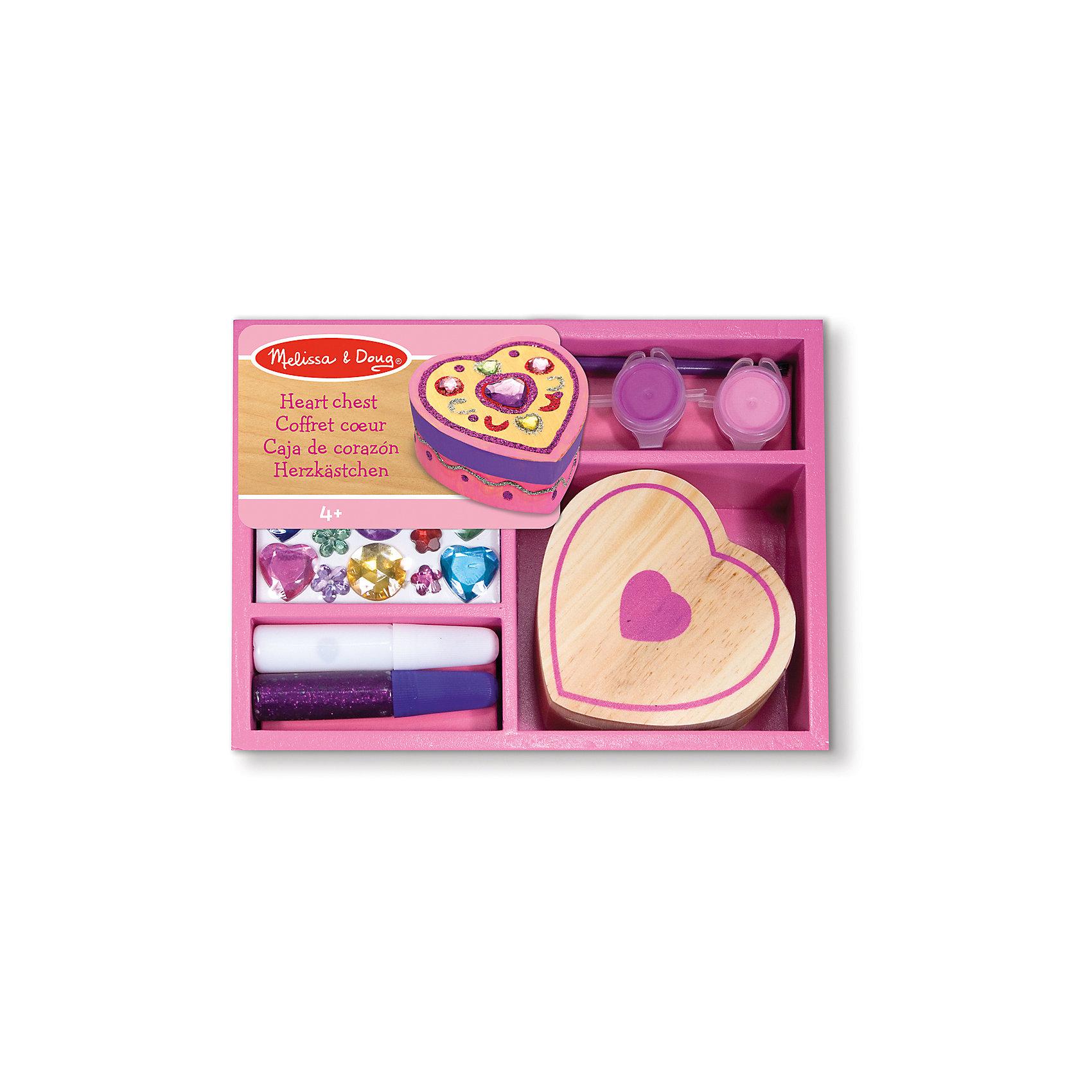 Набор Шкатулка-сердце, Melissa &amp; DougРисование<br>Набор Шкатулка-сердце, Melissa &amp; Doug (Мелисса и Даг) – это замечательный набор серии «творчество», укомплектованный в деревянный розовый ящик. С помощью набора Ваша девочка самостоятельно смастерит милую шкатулку, в которой сможет хранить свои сокровища и украшения. Набор Шкатулка-сердце способствует развитию творческого мышления, художественных навыков и чувства вкуса.<br><br>Комплектация: шкатулка в форме сердца, клей, блестки, краски и кисточка, разноцветные прозрачные камушки<br><br>Дополнительная информация:<br>-Размер шкатулки: 8х8 см<br>-Материал: дерево, пластик<br>-Размер упаковки: 19x15x5 см<br><br>Благодаря такому набору Ваша маленькая рукодельница сможет своими руками создать уникальную шкатулку для хранения своих украшений. <br><br>Набор Шкатулка-сердце, Melissa &amp; Doug (Мелисса и Даг) можно купить в нашем магазине.<br><br>Ширина мм: 50<br>Глубина мм: 130<br>Высота мм: 180<br>Вес г: 410<br>Возраст от месяцев: 48<br>Возраст до месяцев: 72<br>Пол: Женский<br>Возраст: Детский<br>SKU: 2401065