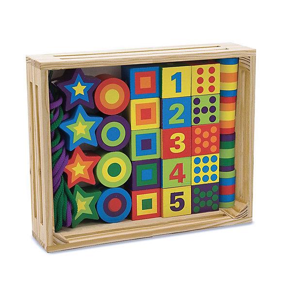 Сшивание бусин, Melissa &amp; DougПособия для обучения счёту<br>Сшивание бусин, Melissa &amp; Doug<br><br>Характеристики:<br><br>• познакомит ребенка с формами, цветами и цифрами<br>• множество вариантов для игры<br>• в комплекте: бусинки, кубики, звездочки, 2 шнурка<br>• материал: дерево, текстиль<br>• размер упаковки: 25х5х20 см<br>• вес: 700 грамм<br><br>Игровой набор Сшивание бусин поможет малышу провести время с интересом и пользой. В набор входят шнурки, бусины, кубики и звездочки. Кроха сможет создать бусики, нанизывая детали на шнурок, построить башенку, выучить цвета, формы и цифры. Игрушки изготовлены из шлифованного дерева и покрыты нетоксичными красками. Это делает игрушки полностью безопасными для малышей. Играя с бусинами, малыш развивает фантазию, мелкую моторику, логическое мышление и память. Прекрасный подарок для любознательных деток!<br><br>Сшивание бусин, Melissa &amp; Doug вы можете купить в нашем интернет-магазине.<br>Ширина мм: 40; Глубина мм: 190; Высота мм: 250; Вес г: 710; Возраст от месяцев: 72; Возраст до месяцев: 120; Пол: Унисекс; Возраст: Детский; SKU: 2401074;