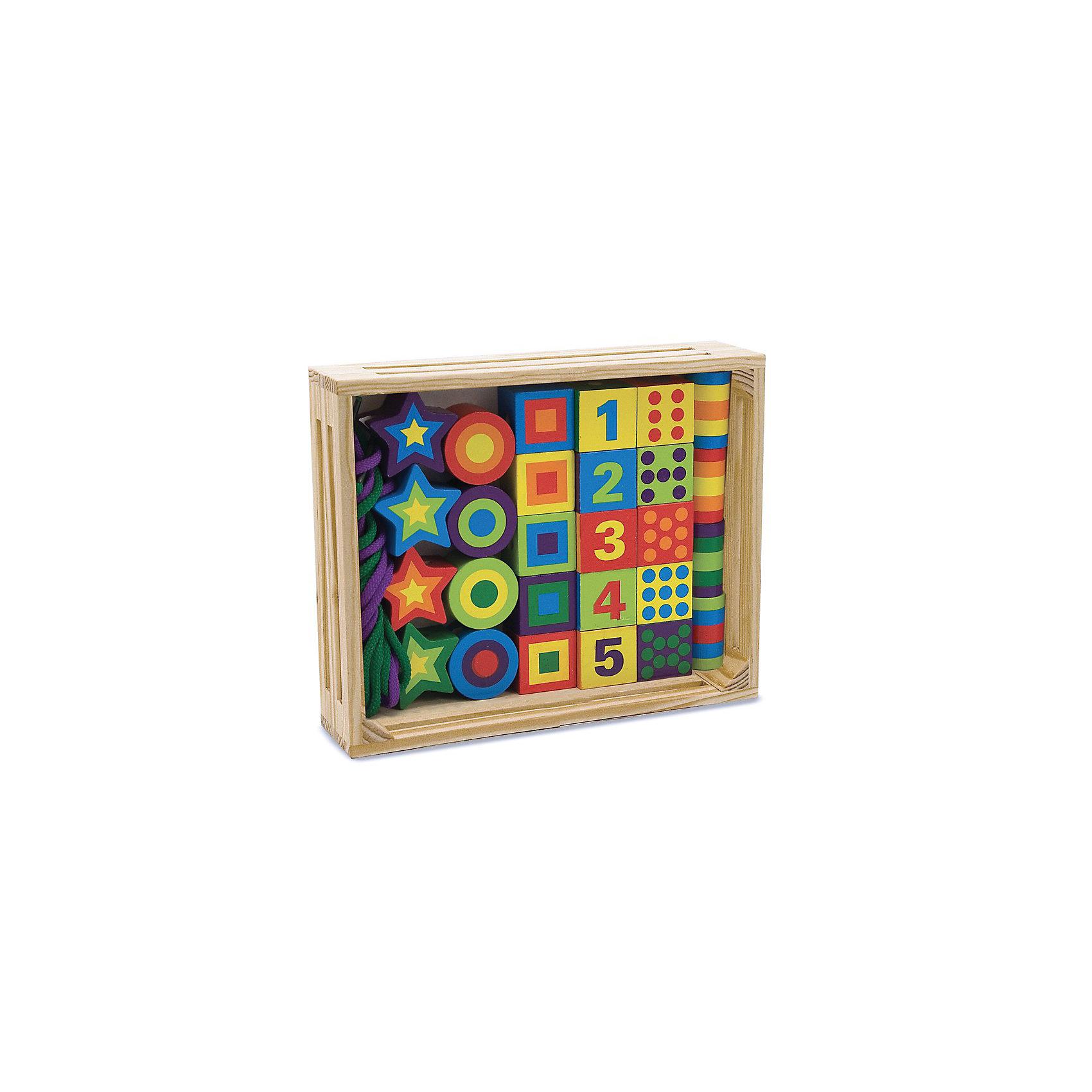 Сшивание бусин, Melissa &amp; DougПособия для обучения счёту<br>Сшивание бусин, Melissa &amp; Doug<br><br>Характеристики:<br><br>• познакомит ребенка с формами, цветами и цифрами<br>• множество вариантов для игры<br>• в комплекте: бусинки, кубики, звездочки, 2 шнурка<br>• материал: дерево, текстиль<br>• размер упаковки: 25х5х20 см<br>• вес: 700 грамм<br><br>Игровой набор Сшивание бусин поможет малышу провести время с интересом и пользой. В набор входят шнурки, бусины, кубики и звездочки. Кроха сможет создать бусики, нанизывая детали на шнурок, построить башенку, выучить цвета, формы и цифры. Игрушки изготовлены из шлифованного дерева и покрыты нетоксичными красками. Это делает игрушки полностью безопасными для малышей. Играя с бусинами, малыш развивает фантазию, мелкую моторику, логическое мышление и память. Прекрасный подарок для любознательных деток!<br><br>Сшивание бусин, Melissa &amp; Doug вы можете купить в нашем интернет-магазине.<br><br>Ширина мм: 40<br>Глубина мм: 190<br>Высота мм: 250<br>Вес г: 710<br>Возраст от месяцев: 72<br>Возраст до месяцев: 120<br>Пол: Унисекс<br>Возраст: Детский<br>SKU: 2401074