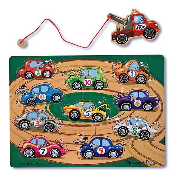 Магнитная игра Взять на буксир, Melissa&amp;DougНастольные игры для всей семьи<br>Магнитная игра Взять на буксир, Melissa&amp;Doug - красочная развивающая игрушка, которая познакомит Вашего малыша с разными видами транспорта. Рамка-основа представляет из себя яркую картинку с изображением автомобильной трассы. В специальные углубления вставлены детальки с различными видами транспорта, каждая деталь строго на свое место. Цель игры -  при помощи блока-буксира с веревкой вынимать детали из основы, а затем возвращать каждый автомобиль на свое место. <br><br>На каждой детали-автомобиле прикреплен магнит, что позволяет малышу легко и просто доставать буксиром машинки из основы. Все детали игры качественно обработаны и окрашены безопасными красителями. Игра развивает координацию движений, мелкую моторику, внимание, навыки начального счета и логическое мышление.<br><br>Дополнительная информация:<br><br>- Материал: дерево. <br>- Размер упаковки: 2,5 х 23 х 30,5 см.<br>- Вес: 0,5 кг.<br> <br>Магнитную игру Взять на буксир, Melissa&amp;Doug, можно купить в нашем интернет-магазине.<br>Ширина мм: 20; Глубина мм: 220; Высота мм: 290; Вес г: 430; Возраст от месяцев: 36; Возраст до месяцев: 72; Пол: Унисекс; Возраст: Детский; SKU: 2401076;