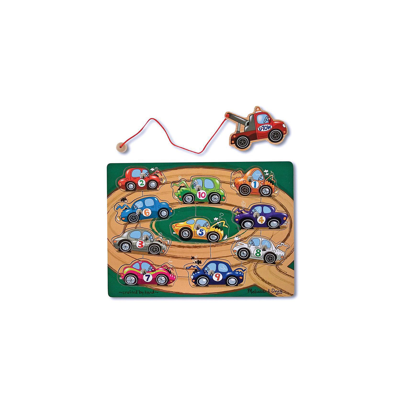 Магнитная игра Взять на буксир, Melissa&amp;DougРамки-вкладыши<br>Магнитная игра Взять на буксир, Melissa&amp;Doug - красочная развивающая игрушка, которая познакомит Вашего малыша с разными видами транспорта. Рамка-основа представляет из себя яркую картинку с изображением автомобильной трассы. В специальные углубления вставлены детальки с различными видами транспорта, каждая деталь строго на свое место. Цель игры -  при помощи блока-буксира с веревкой вынимать детали из основы, а затем возвращать каждый автомобиль на свое место. <br><br>На каждой детали-автомобиле прикреплен магнит, что позволяет малышу легко и просто доставать буксиром машинки из основы. Все детали игры качественно обработаны и окрашены безопасными красителями. Игра развивает координацию движений, мелкую моторику, внимание, навыки начального счета и логическое мышление.<br><br>Дополнительная информация:<br><br>- Материал: дерево. <br>- Размер упаковки: 2,5 х 23 х 30,5 см.<br>- Вес: 0,5 кг.<br> <br>Магнитную игру Взять на буксир, Melissa&amp;Doug, можно купить в нашем интернет-магазине.<br><br>Ширина мм: 20<br>Глубина мм: 220<br>Высота мм: 290<br>Вес г: 430<br>Возраст от месяцев: 36<br>Возраст до месяцев: 72<br>Пол: Унисекс<br>Возраст: Детский<br>SKU: 2401076