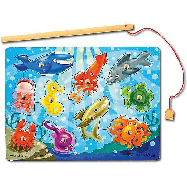 Магнитная игра Рыбалка, Melissa&amp;DougНастольные игры для всей семьи<br>Магнитная игра Рыбалка, Melissa&amp;Doug - красочная развивающая игрушка, которая познакомит Вашего малыша с разными морскими животными и рыбками.<br>Рамка- основа представляет из себя яркую картинку с изображением подводного мира. В специальные углубления вставлены детальки с различными морскими обитателями, каждая деталь строго на свое место. Цель игры -  при помощи магнитной удочки вынимать детали-рыбок из основы, а затем возвращать на свое место. <br><br>На каждой детали прикреплен магнит, что позволяет малышу легко и просто вылавливать рыбок из моря. Все детали игры качественно обработаны и окрашены безопасными красителями. Игра развивает координацию движений, мелкую моторику, внимание, навыки начального счета и логическое мышление.<br><br>Дополнительная информация:<br><br>- Материал: дерево, металл. <br>- Размер упаковки: 2,5 х 23 х 30,5 см. <br>- Вес: 0,5 кг.<br> <br>Магнитную игру Рыбалка, Melissa&amp;Doug, можно купить в нашем интернет-магазине.<br>Ширина мм: 10; Глубина мм: 220; Высота мм: 290; Вес г: 450; Возраст от месяцев: 36; Возраст до месяцев: 72; Пол: Унисекс; Возраст: Детский; SKU: 2401077;